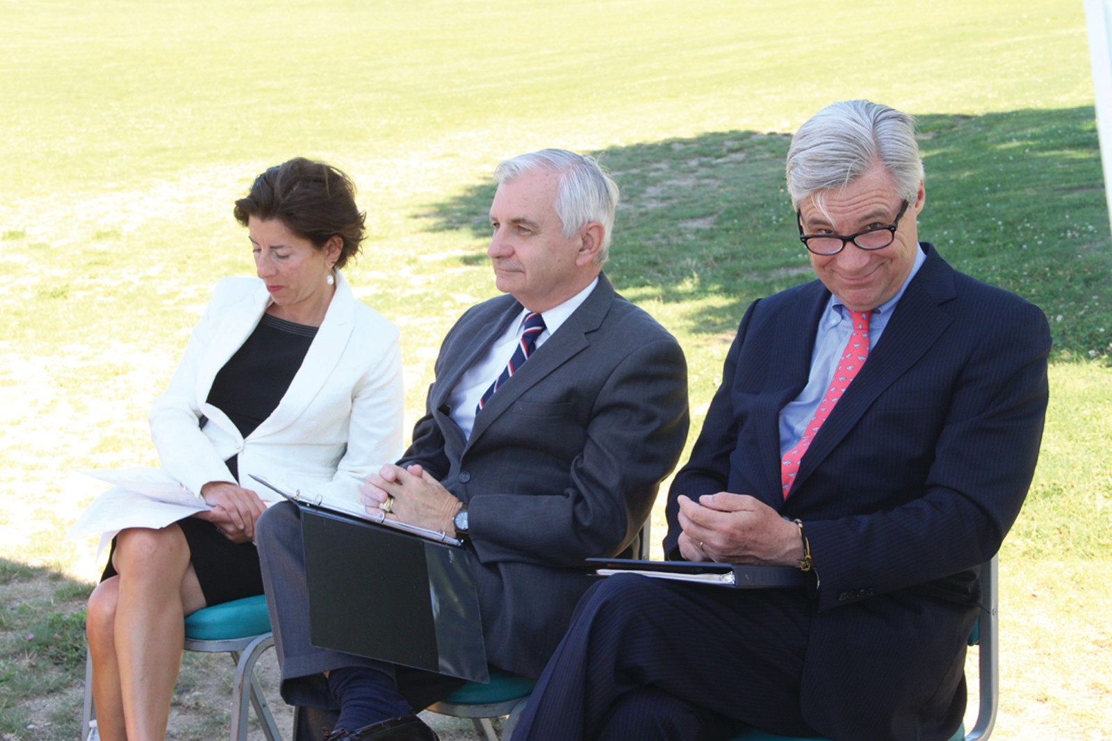 PARK LINEUP: Gov. Gina Raimondo and Senators Jack Reed and Sheldon Whitehouse all shared memories as officials gathered Friday to celebrate 10 pathway signs created for the park by Leadership Rhode Island.