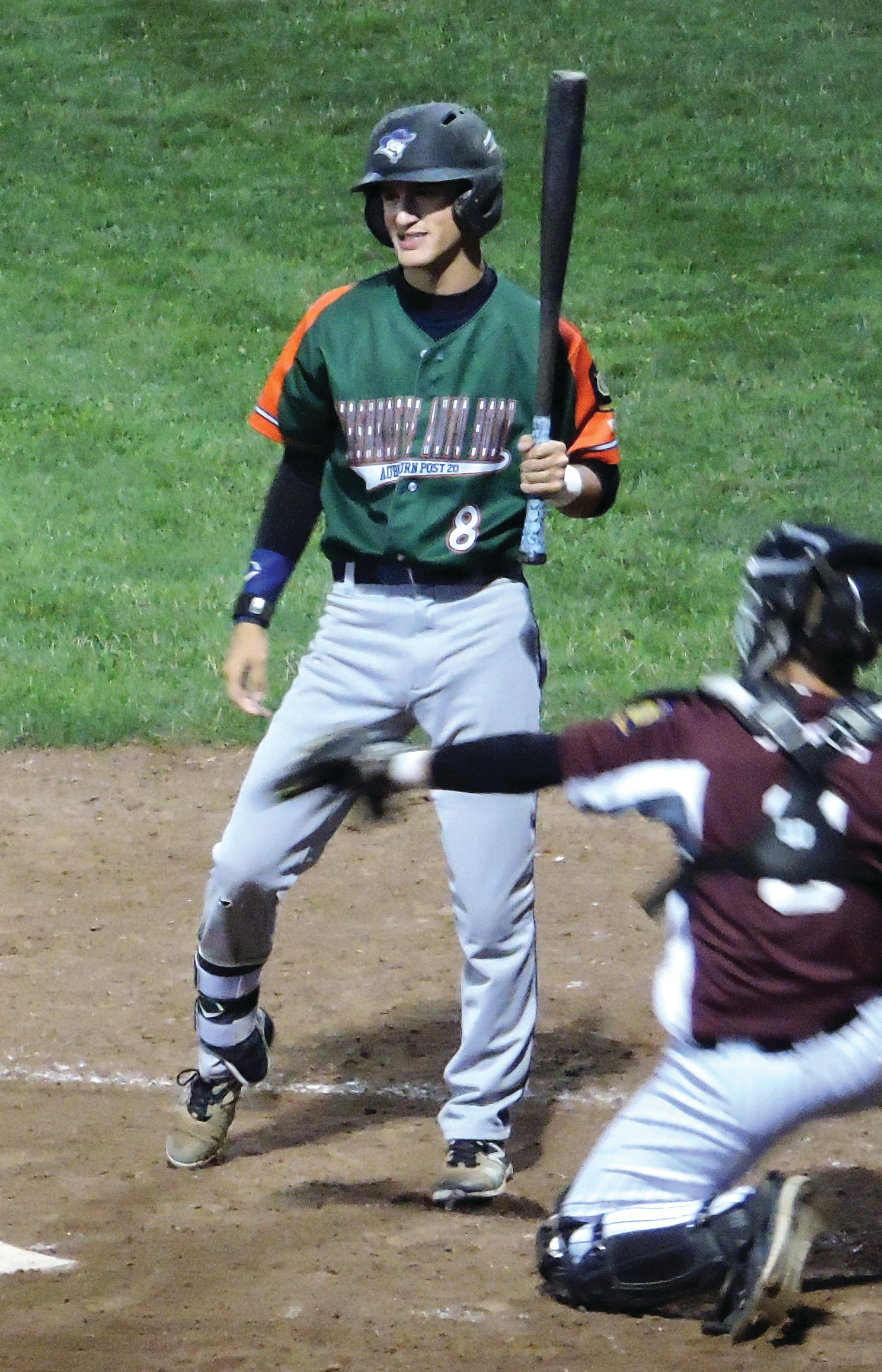 LEGION SEMIS: Mitch Carvalho reacts after taking a pitch at the plate.