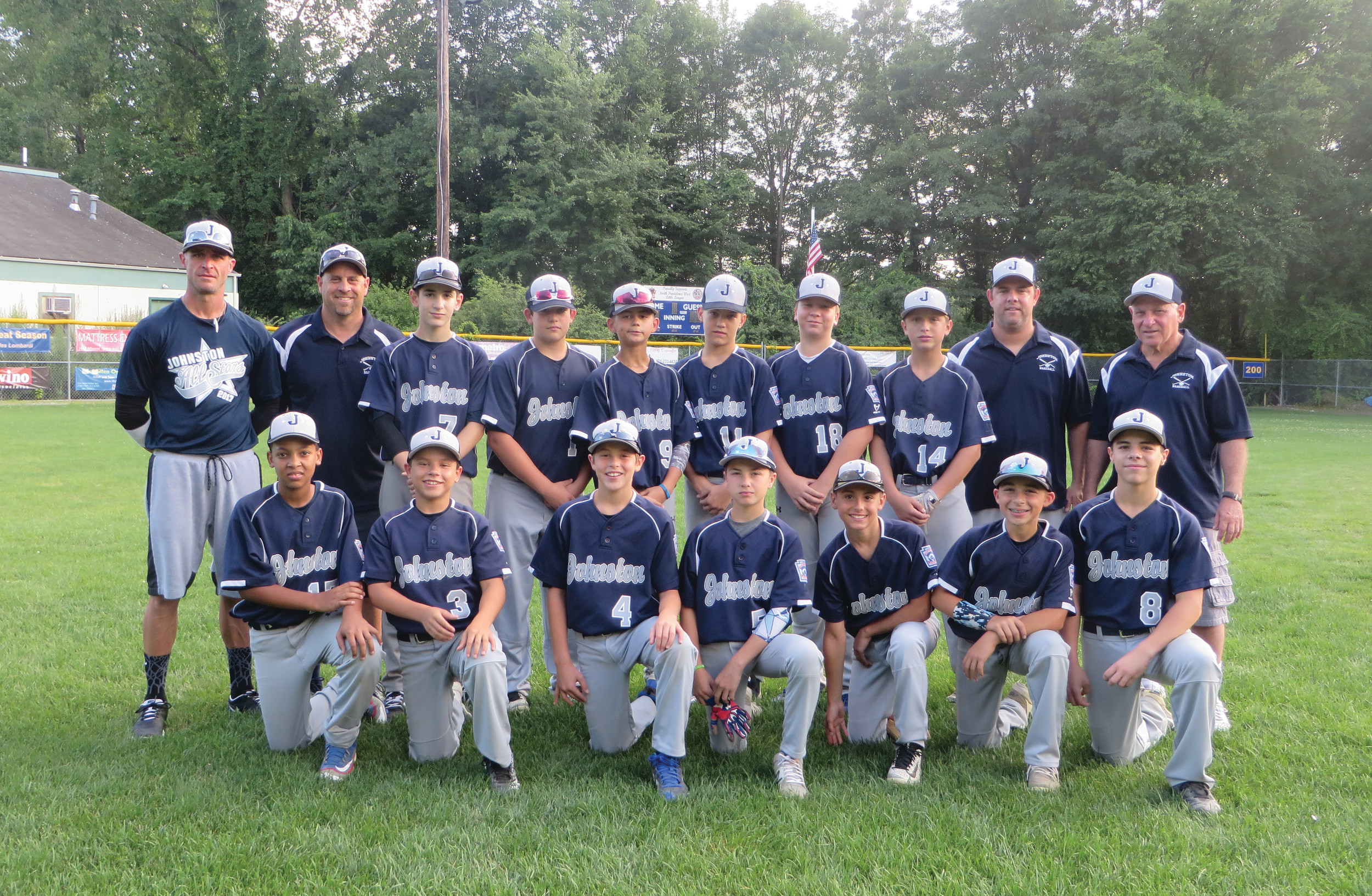 SUPER SQUAD: This is Johnston Little League's 11/12-year-old all-stars, who recently played their way to the District 1 final. This team includes, bottom row from left to right: Jonah Pecchi, Cameron Salois, Derek Salvatore, Dante Iafrate, Dylan Martins, Michael Salzillo and Joe Vento. Back row: Coaches Brian Iafrate and Dan Salvatore, Dante Ricci, Ryan Nichols, Hudson Carvalho, Joe Domenico, Michael LaFlamme, Andrew Picard, Coach Dave Lavelle and Manager Bob Guidici.
