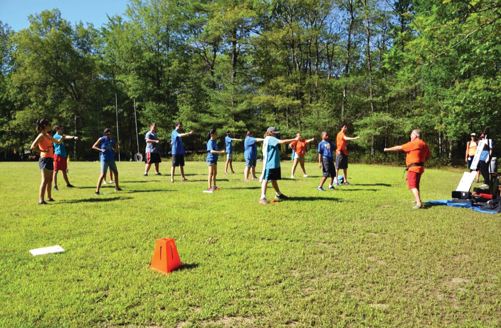 GETTING ACTIVE: Campers in the Blue Group enjoyed a lesson with Sensei Mike during a beautiful afternoon.