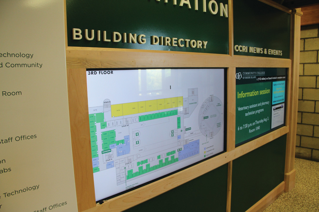 AS EASY AS A TOUCH: Interactive directional signs are on each floor of the Knight Campus with the exception of the sixth floor.