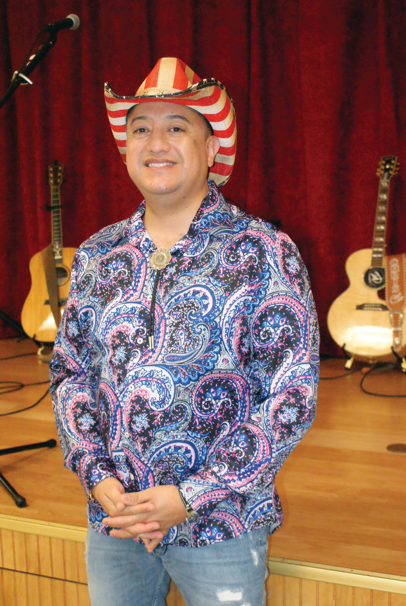 YEEHAW: Pictured is RSVP Director David Quiroa dressed for Country Night at the senior center.
