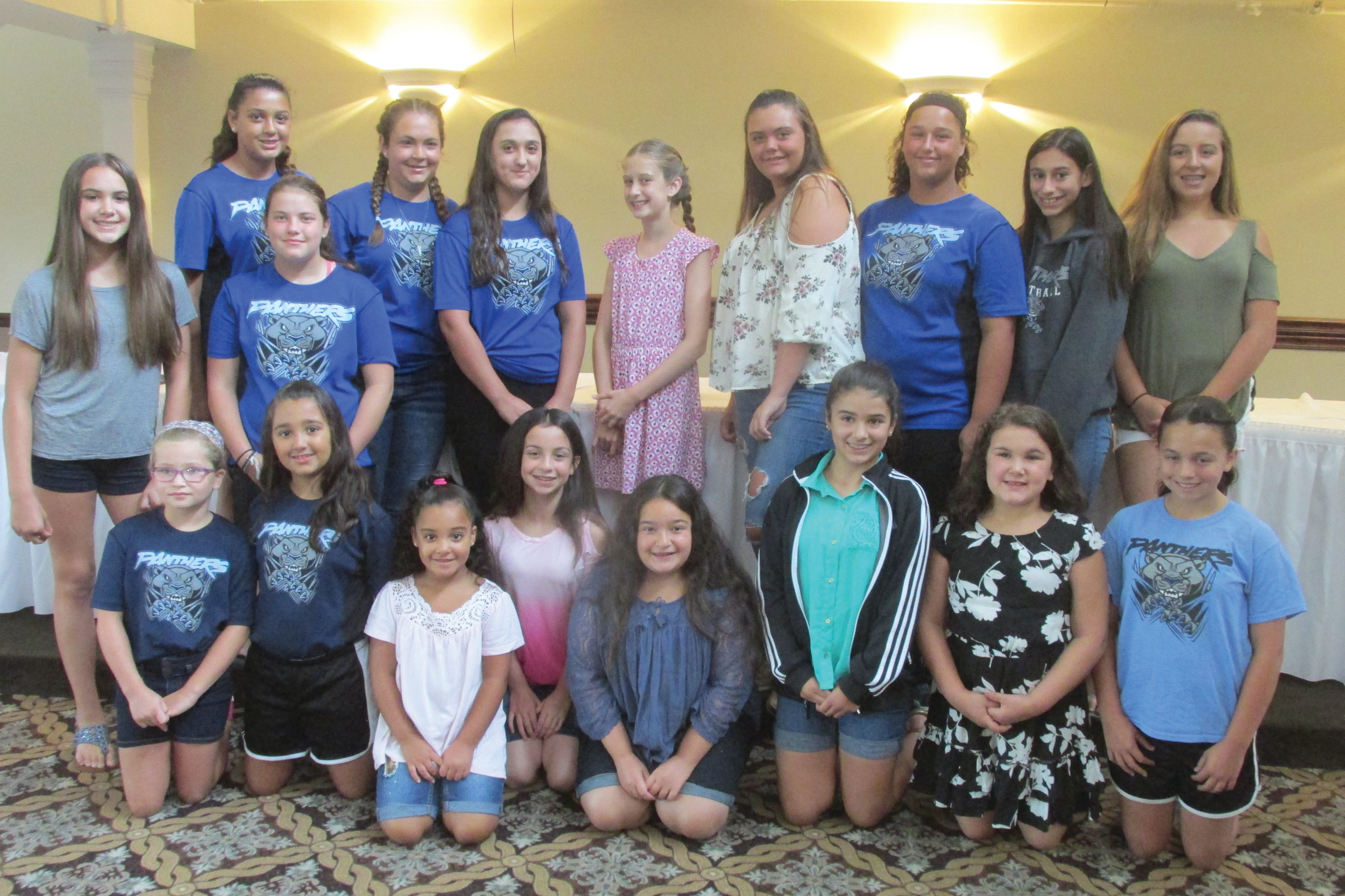 PROUD PARTICIPANTS: These are just some of the girls who were treated to a fun, food and friendship-filled 3rd annual Johnston Girls Softball League banquet last Saturday inside Cranston Country Club.