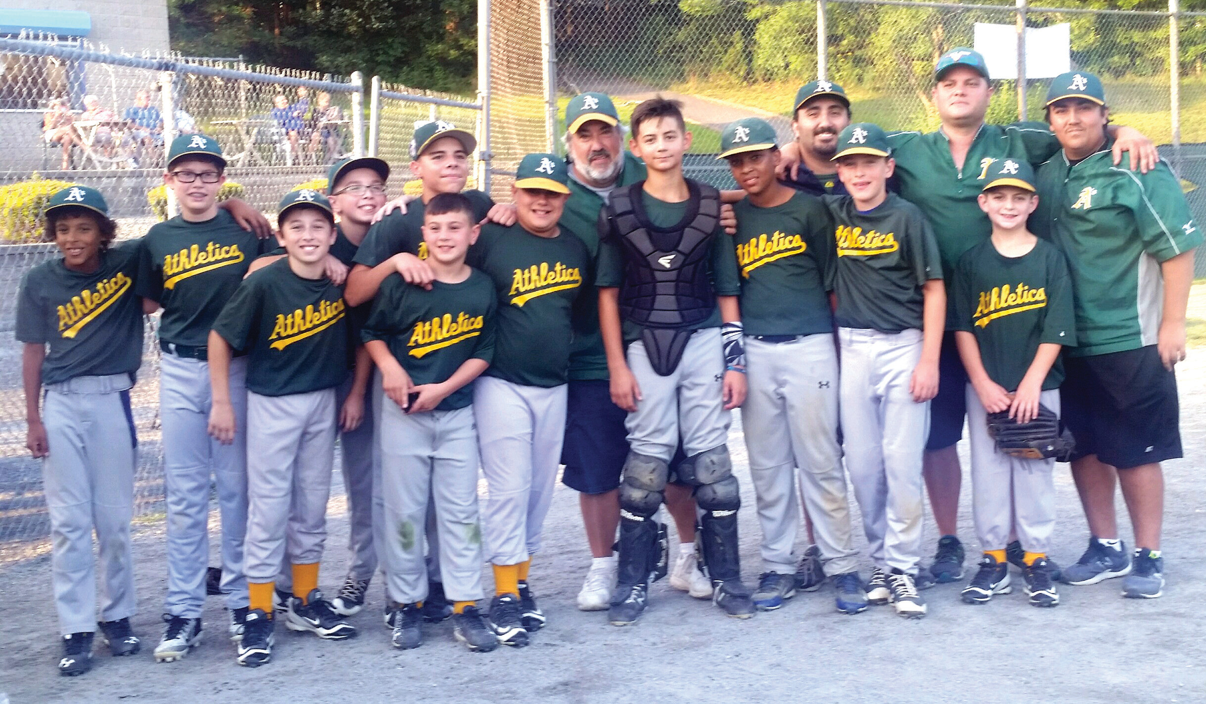 SUPER SQUAD: Meet the Johnston Little League's Countyview Landscaping-sponsored Athletics who recently staked claim to the Town Championship for a second straight season. The team includes, from left: Nomar Campbell, Stephen D'Arienzo, Nick D'Aquila, Christian Mattson, Joey Vento, Jackson Villani, Nicholas Villani, Hudson Carvalho, Jonah Pecchia, Christopher Geraghty and Jason Schino. Coaches standing in back are: Eddie Pannone Jr., Eddie Pannone III, Manager Mike Perez and Coach Anthony Pannone.