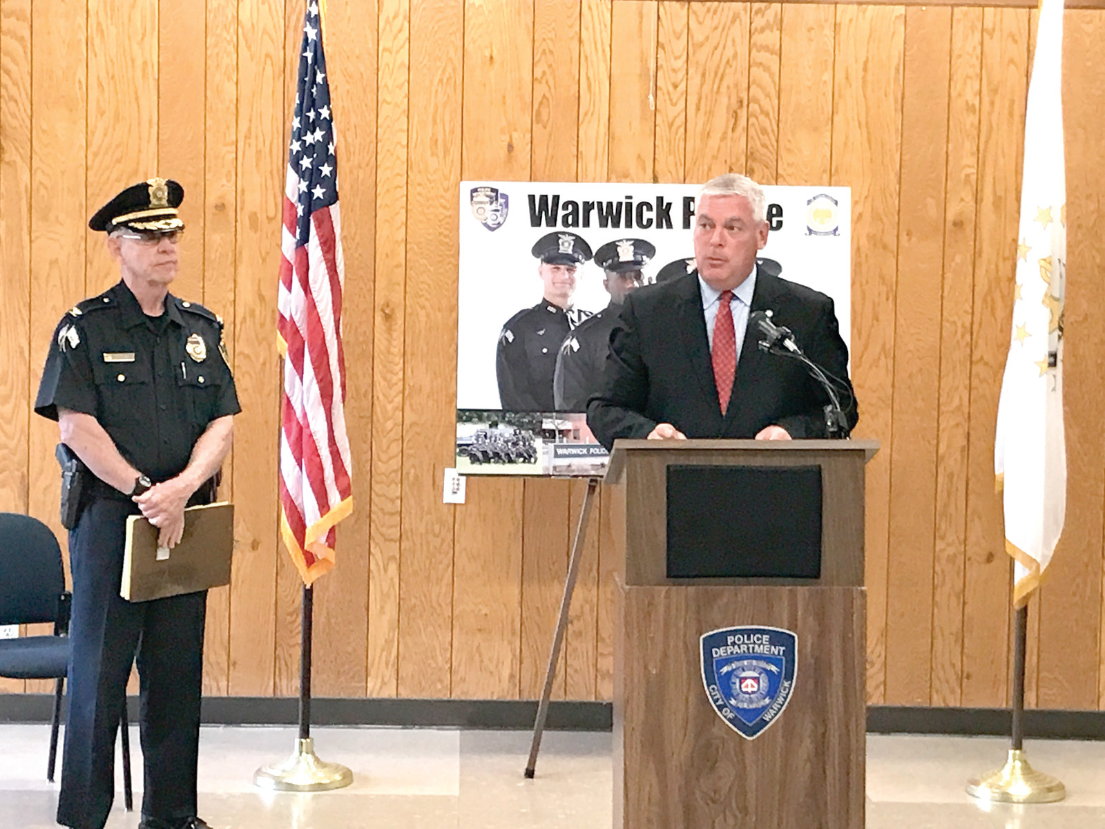 CALLING ALL RECRUITS: Colonel McCartney (left) joins with Mayor Avedisian at a press conference to promote the recruitment drive that ends on Sept. 1.