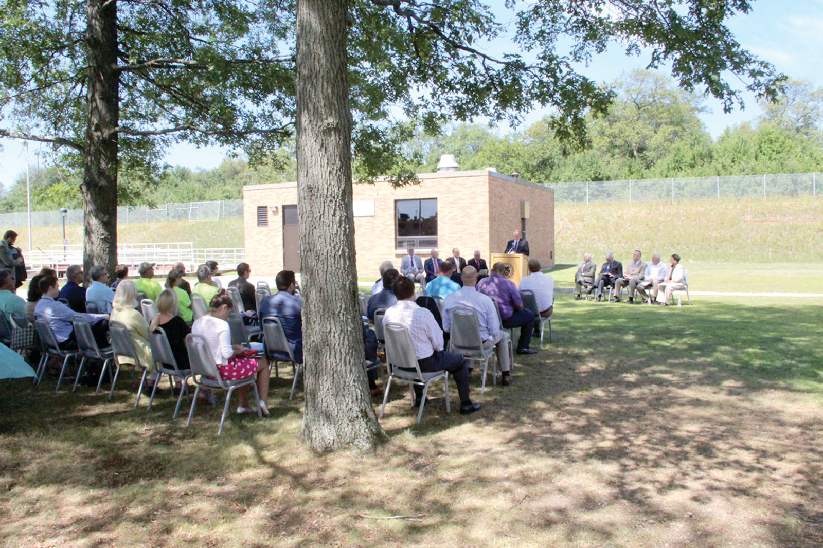 NON-WASTEFUL SPENDING: Attendees gathered at the Warwick wastewater treatment facility on Thursday, Aug. 17 to join a celebration that included municipal employees and local, state and federal officials in regards to $20 million in improvements made at the site.