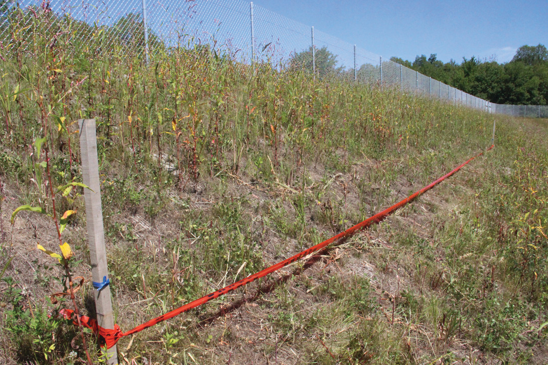LINE IN THE SAND: A red tape marker indicated the height of the old earthen levee, which was insufficient in holding back the historic flooding that occurred in March of 2010. The new levee wall was increased by five-and-a-half feet.