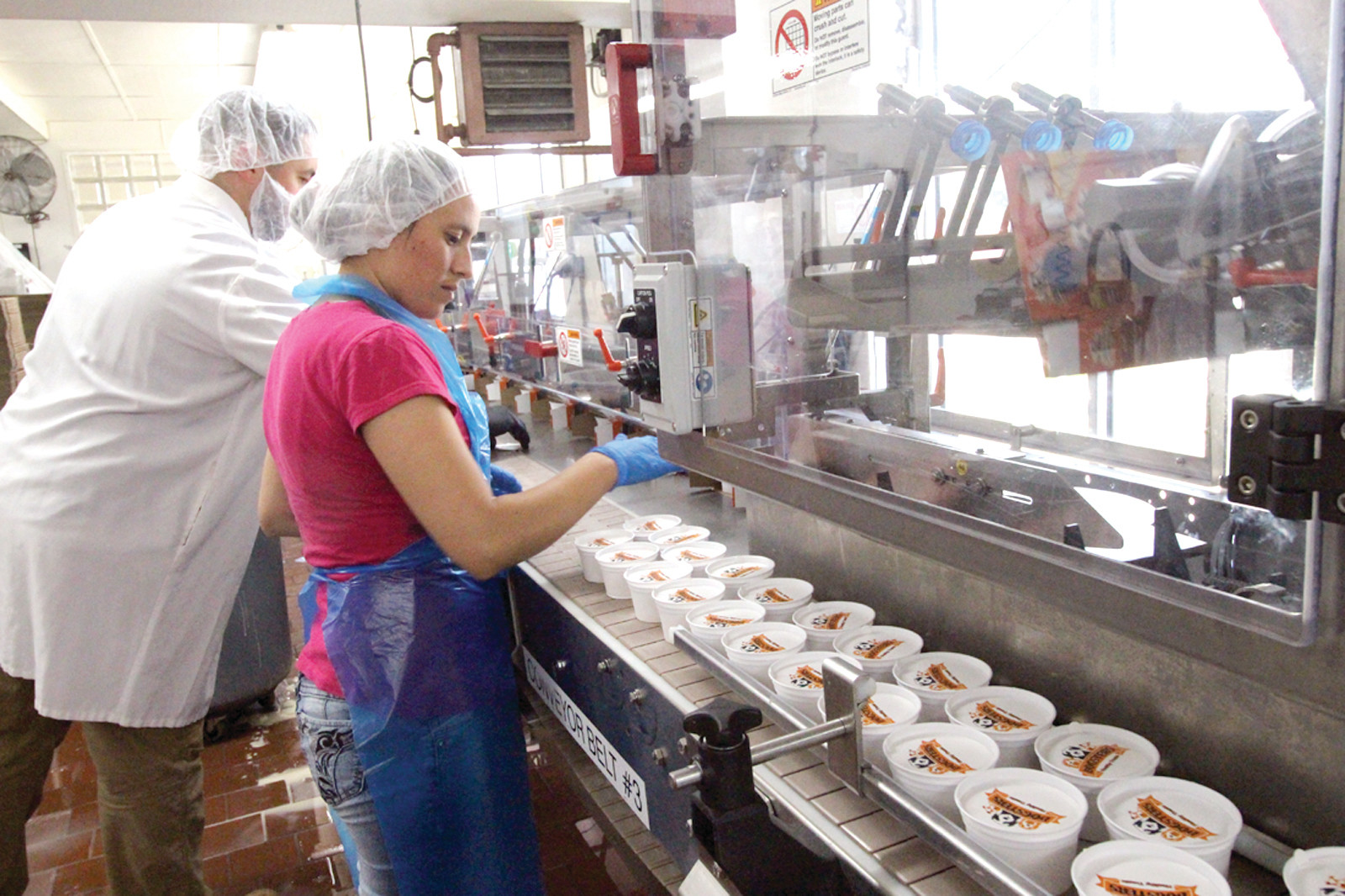 ON THE PRODUCTION LINE: Cup of ice cream made for the pet market are prepared for boxing and shipping.