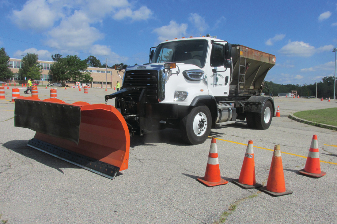 TEST TRUCK: This 30,000-pound GVW truck with front mounted plow was used in the Snowplow Slalom competition during last Wednesday's Rhode Island Public Works Association event in Johnston.