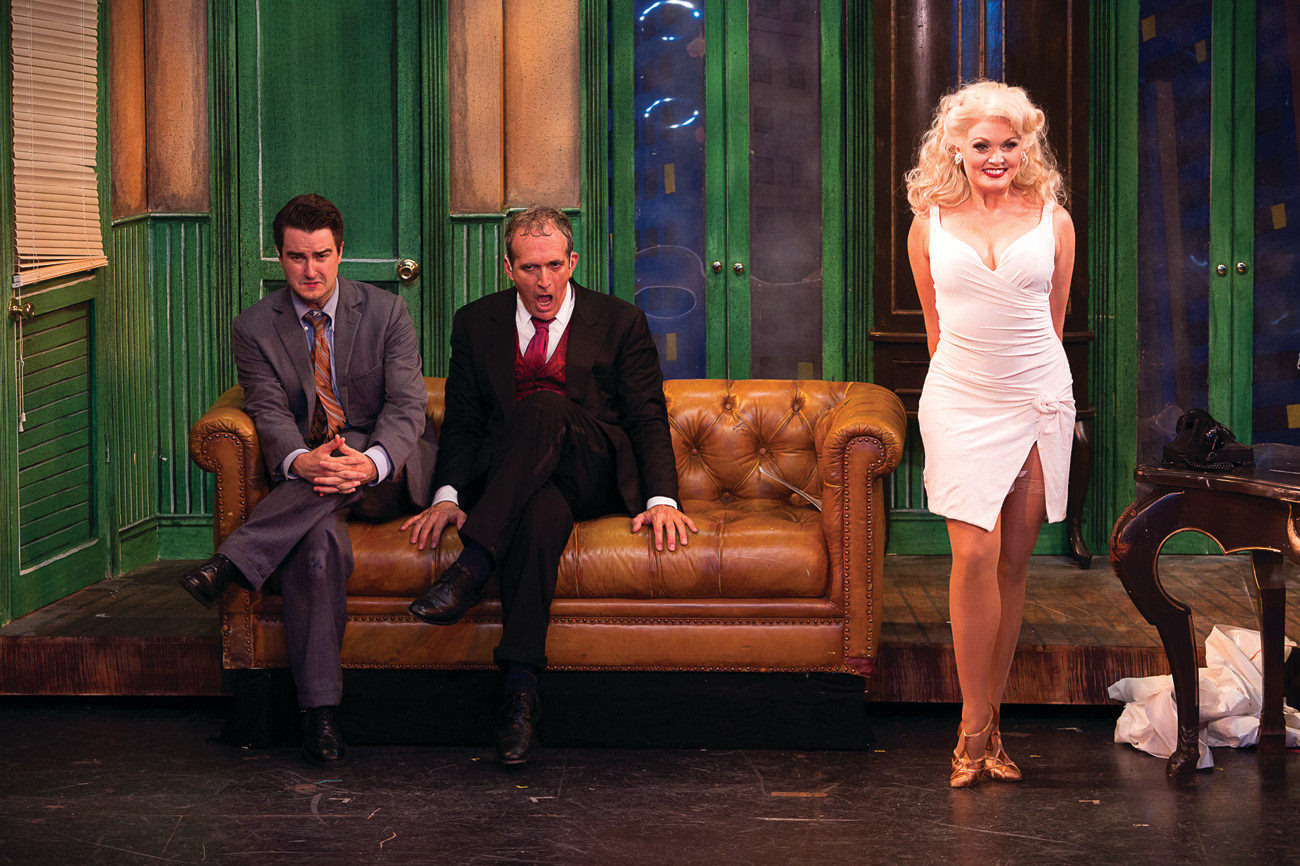 "Richard Lafleur (Leo Bloom), Joel Briel (Max Bialystock), and Sabrina Harper (Ulla) in ""The Producers"" at Theatre By The Sea thru September 10."