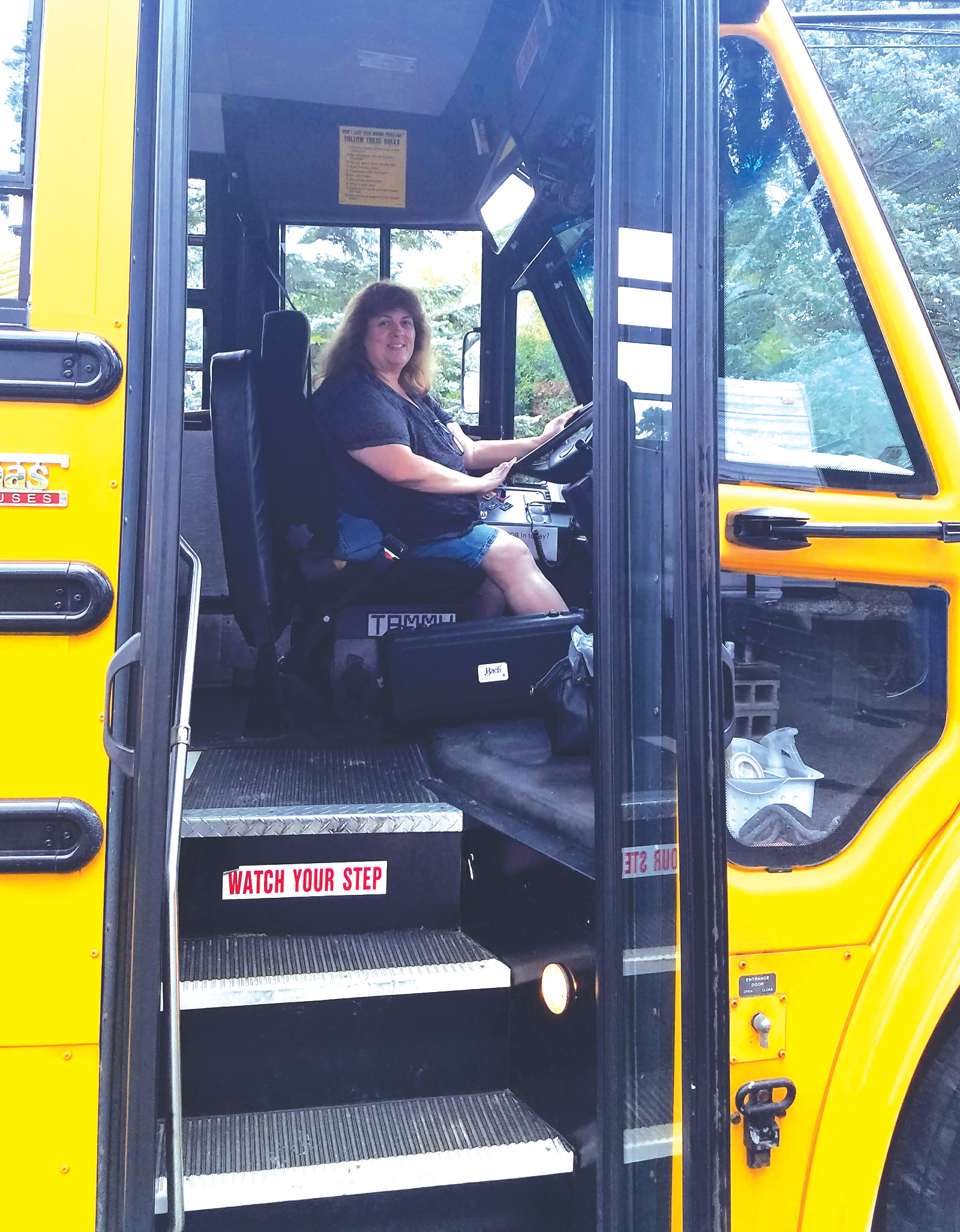 SAME ROUTE: Bus driver Tammy Pelland has been driving the same bus route for 31 years in Cranston, bringing elementary, middle and high school students to school and back again, safe and sound for more than three decades.