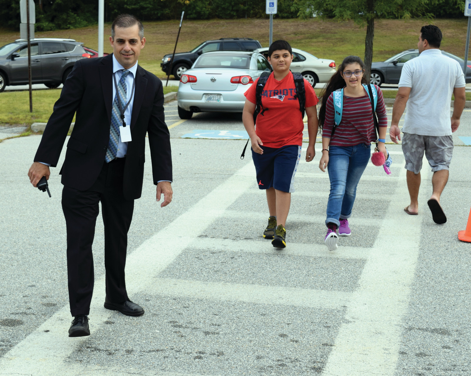 KING COBRA: Western Hills Principal Tim Vesey welcomed all of his Cobras back for another school year on Tuesday morning.