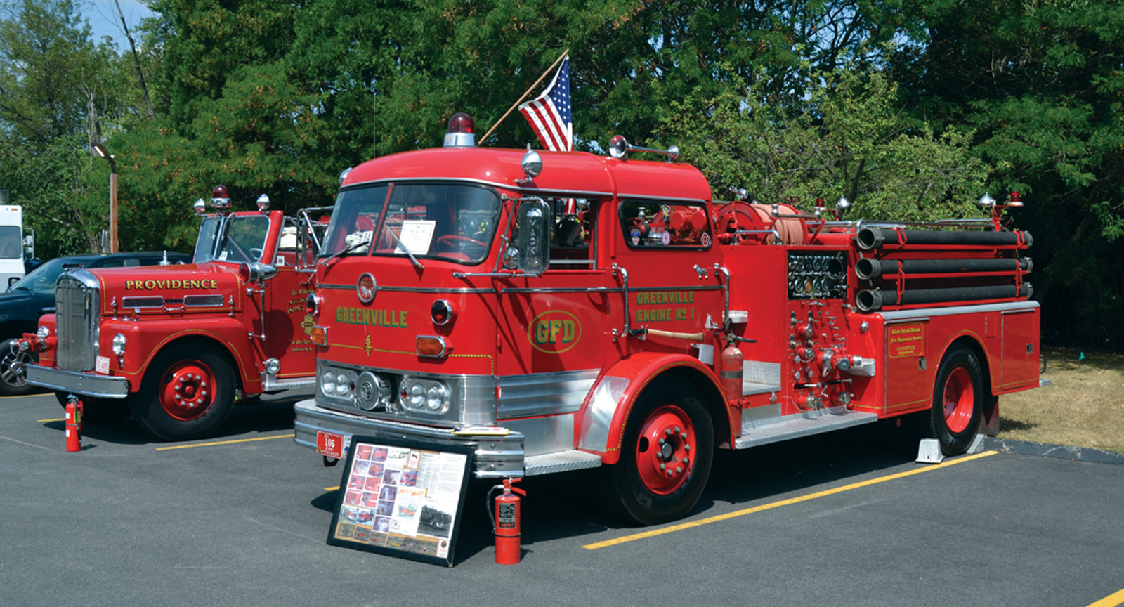 VINTAGE VEHICLES: Greenville and Providence firefighters used to report to duty with these engines.