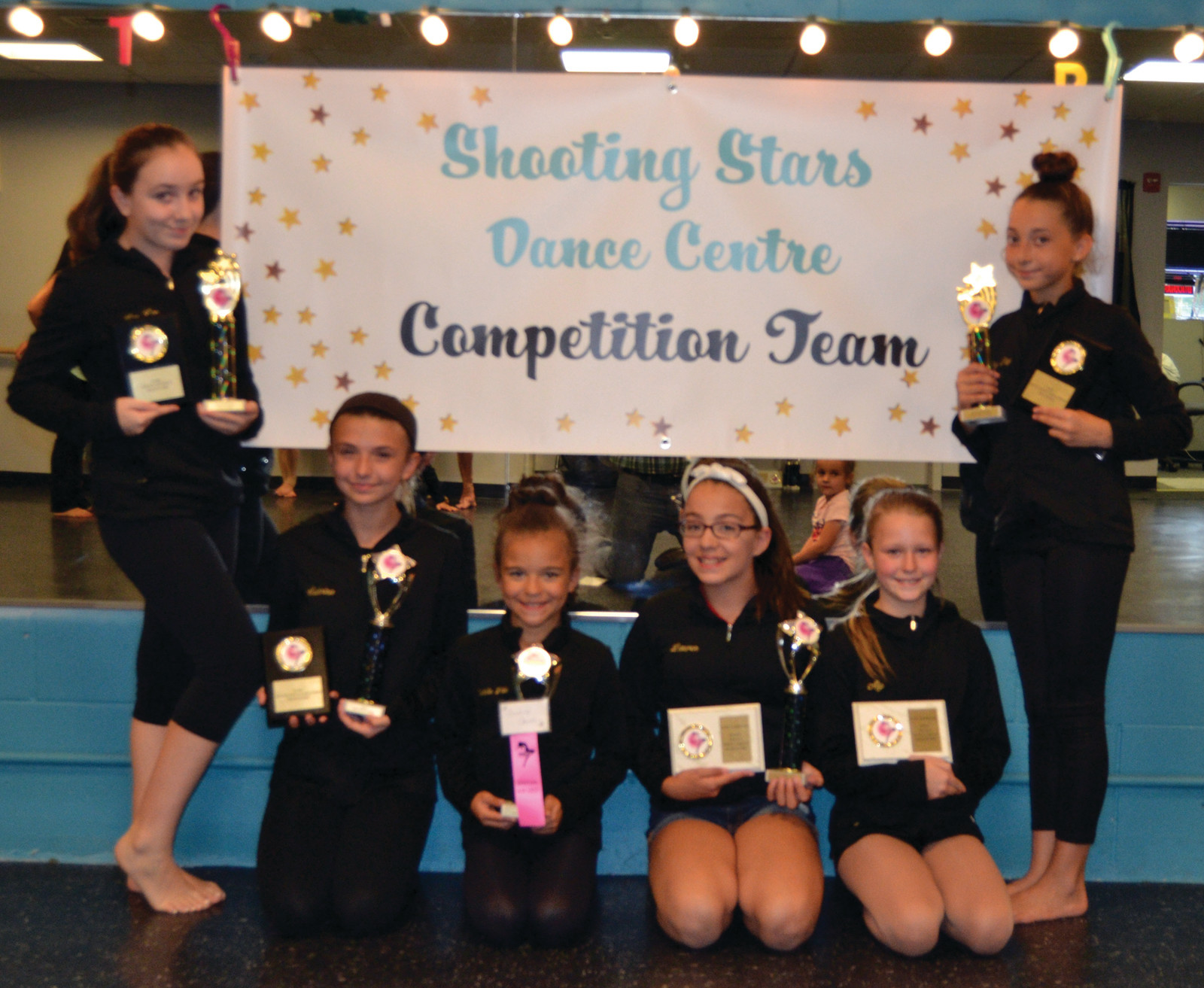 At right, pictured are Lele Rivas, Sabrina Smith, Isabella Alvarez, Alyson Brown, Lauren Depot and Cheyann Hazard, who took part in the Petite Small Group Tap and received High Gold, Division High Score, and Performance Showcase Invite.
