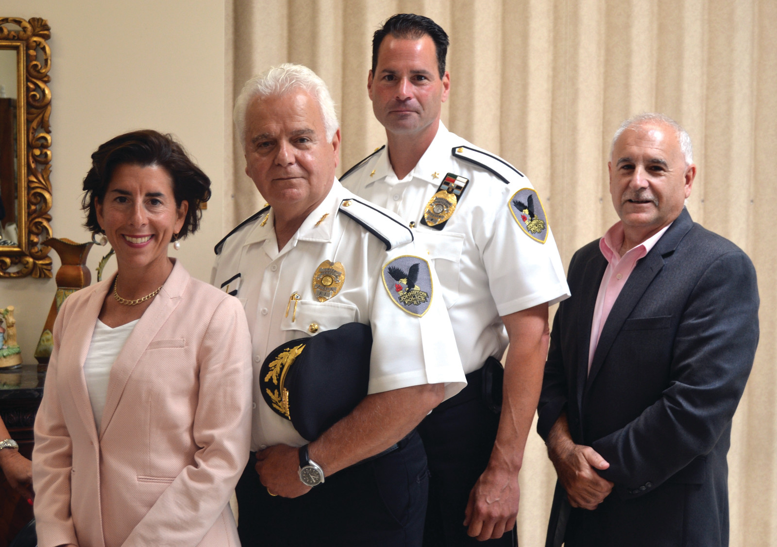 GOVERNOR'S VISIT: Gov. Raimondo met with Chief Richard Tamburini and Deputy Chief Joseph Razza, along with Mayor Polisena this week.