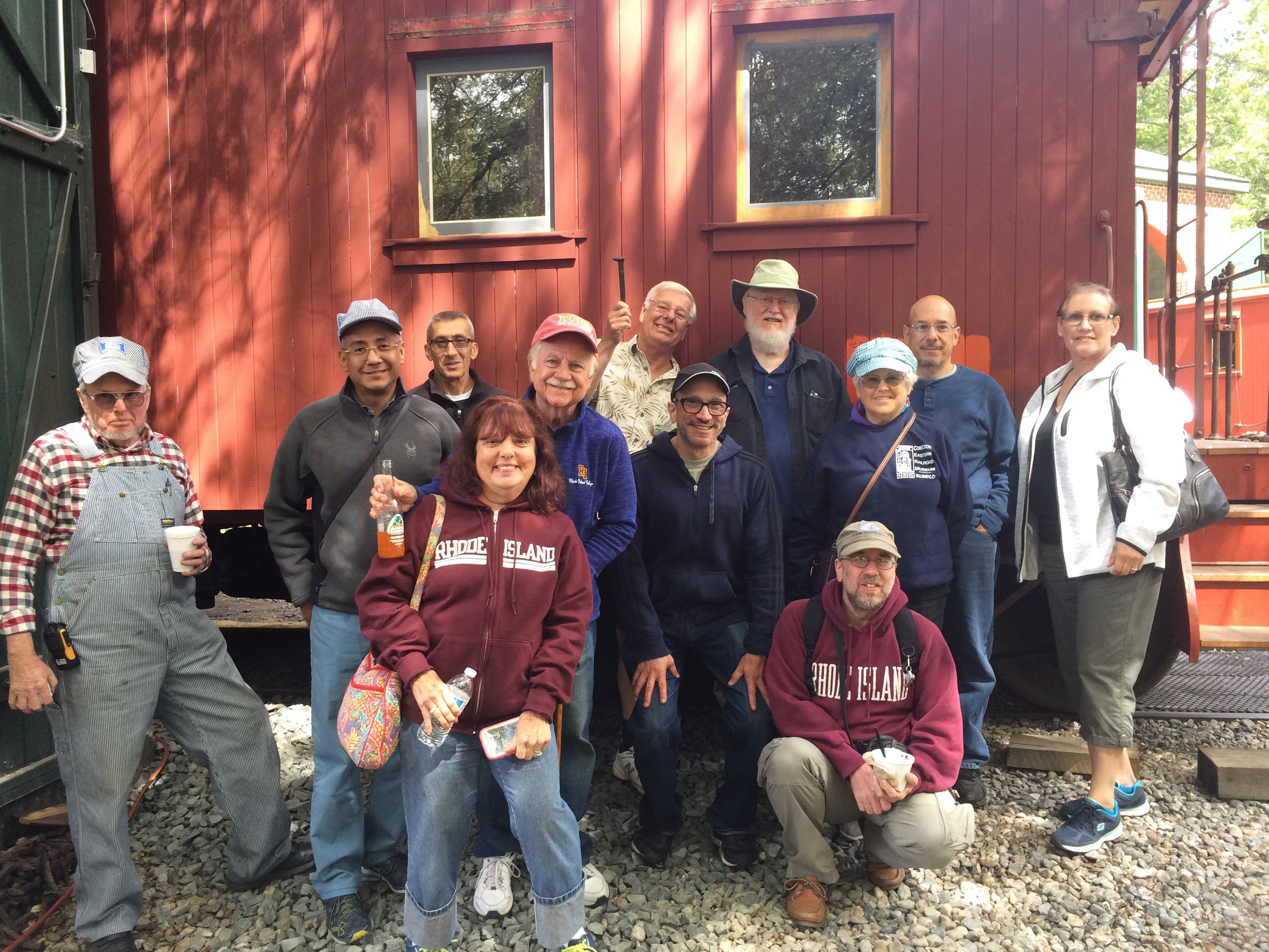 TRIP TAKERS: These are the Johnston Historical Society members who took a unique field trip Saturday – which was postponed from its actual date in May – to the Eastern Railroad Museum in Willimantic, Conn.