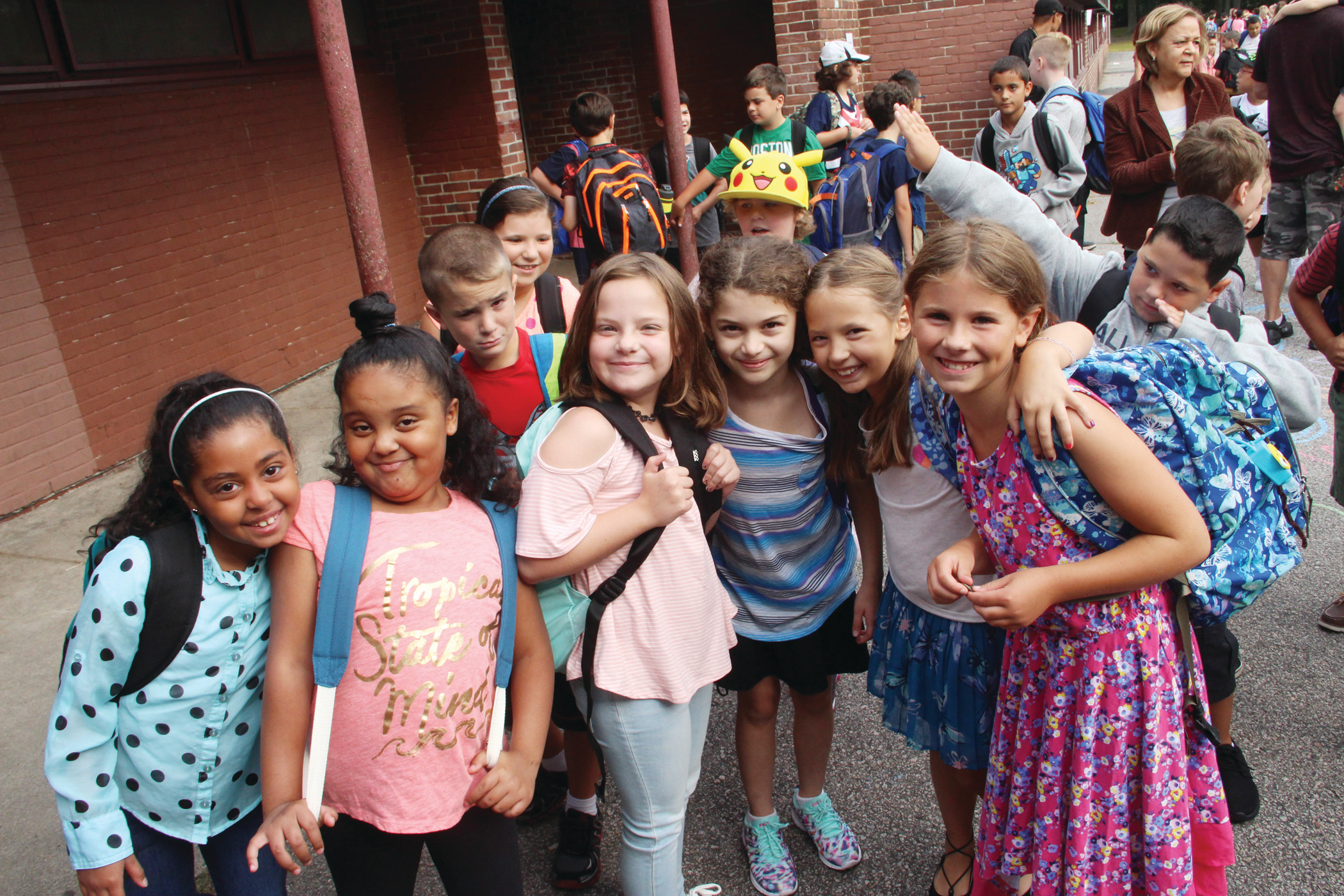 READY TO HAM IT UP: JBF third graders didn't need much prompting to pose for the camera.