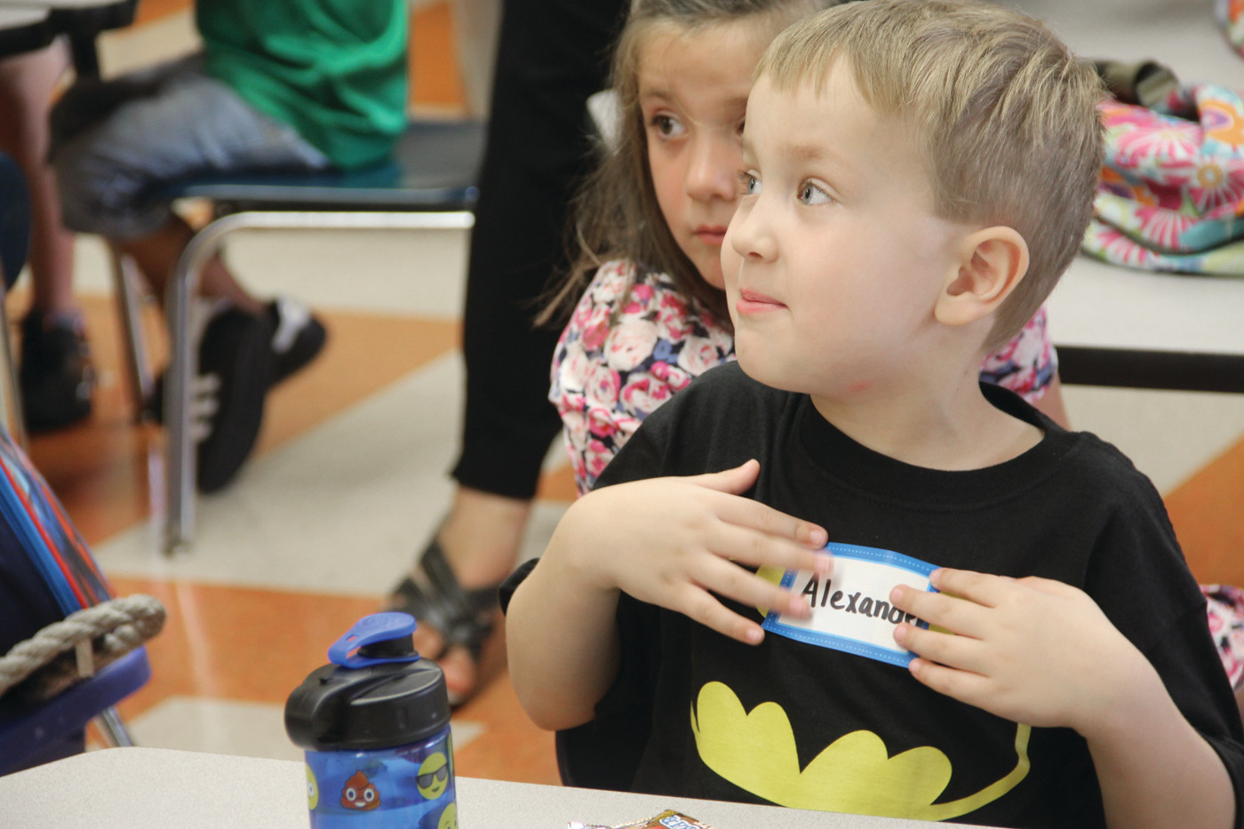 THAT'S ME: Kindergartener Alexander Nicolaides didn't hesitate to speak up during the first day of class.