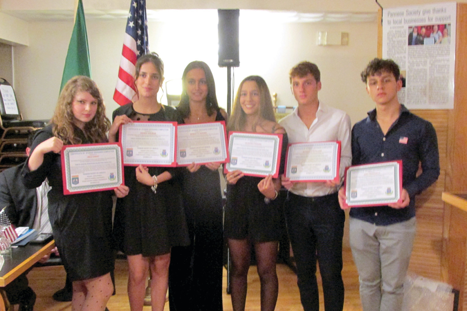 "GRAND GUESTS: The students from Panni Foggia, Italy, who for the past two weeks have been in Johnston – and Rhode Island – as part of Phase One of the Pannese Society's Sister City Exchange Program, show off their spiffy awards during last week's welcome dinner. The students are, from left: Viola Farao, Arianna Guglielmi, Benedetta Nazzaro, Valentina DaAdduzio, Antongiulio Rutigliano and ""Jerry"" Francavilla."