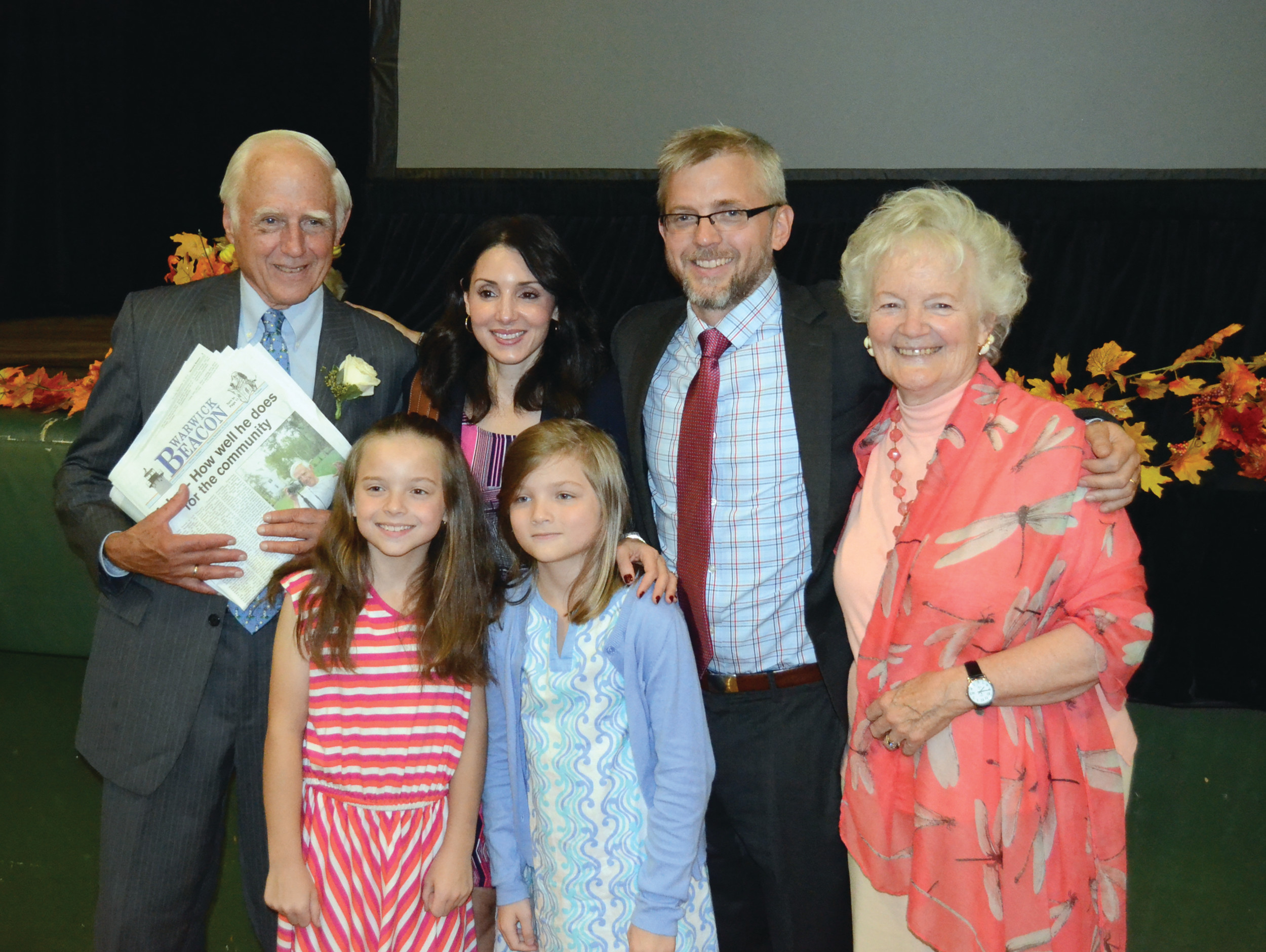 SOURCES OF INSPIRATION: John Howell with his immediate family members that were able to attend the evening, including his wife Carol, son Ted, daughter-in-law Erica and granddaughters Alexandra and Sydney.