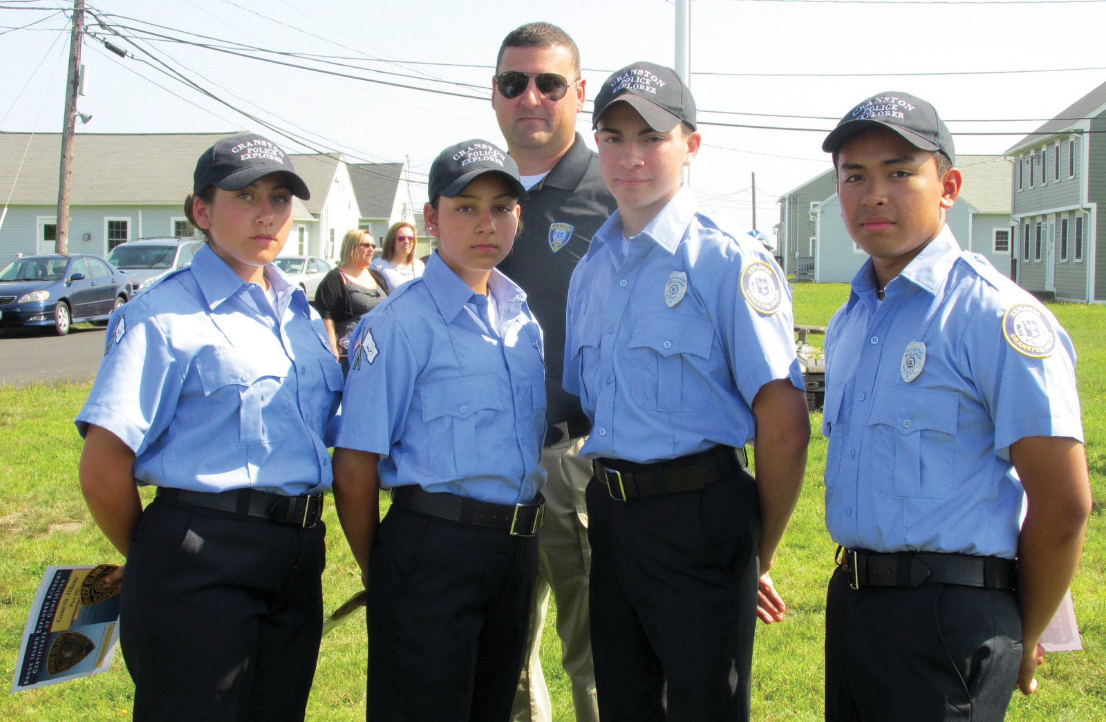 POST PRIDE: The Cranston Police Department's new Explorers Post 402 was well-presented at the recent RI Law Enforcement Training Academy by (from left) Cadets Genesis Aldana, Sofia Calderon, Inspector Robert Santagata, Eric Testa and Jesahias Quiroa.