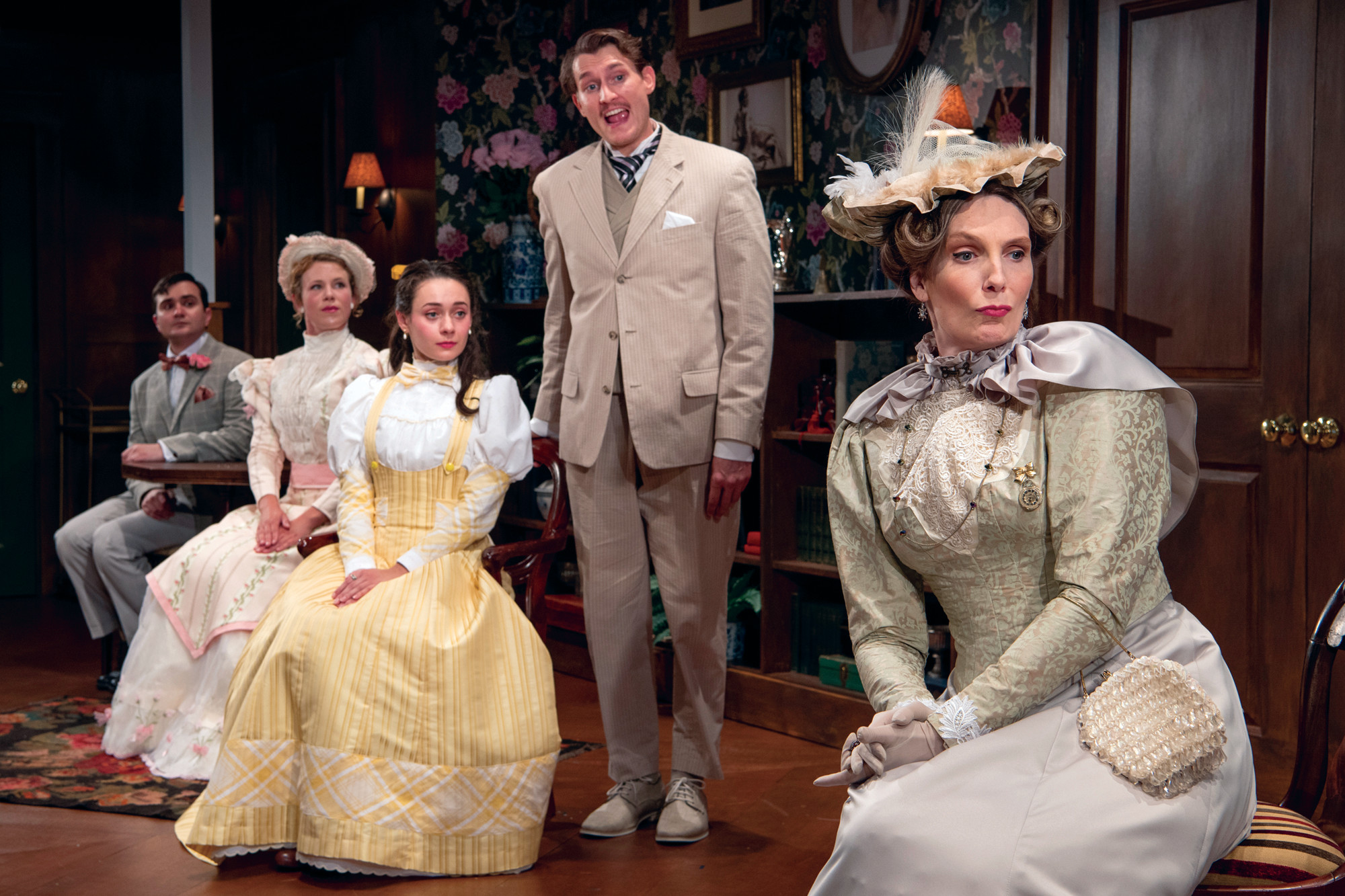 "Marc Dante Mancini (Algernon Moncrieff), Nora Eschenheimer (Gwendolen Fairfax), Alison Russo (Cecily Cardew), Jeff Church (John Worthing, J.P.) and Deb Martin (Lady Bracknell) in Gamm's ""The Importance of Being Earnest,  Trivial Play For Serious People."""