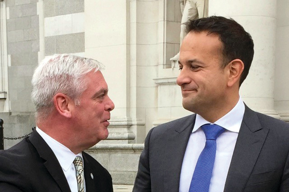 TALKING TRADE: Mayor Avedisian with Ireland's Prime Minister Leo Varadker at Leinster House in Dublin, seat of Ireland's national government. Varadker is a medical doctor and was elected PM June 2, 2017.