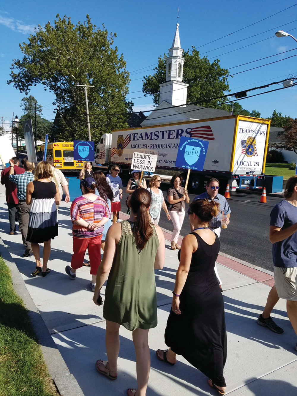 BACK ON THE STREET: Warwick Teachers' Union, and local Teamsters showed up to picket outside Warwick City Hall on Wednesday afternoon.