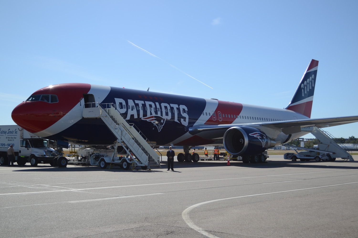 CURB APPEAL: The Patriots plane parked in its new spot at TF Green. Proponents of the deal between the airport and the professional football team hope that having the jet parked at TF Green will help boost interest in the airport.