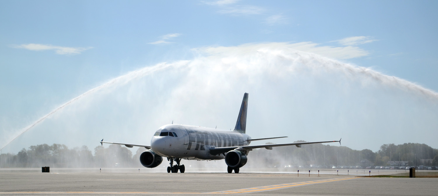 A Frontier plane during its inaugural landing water cannon salute in 2017.