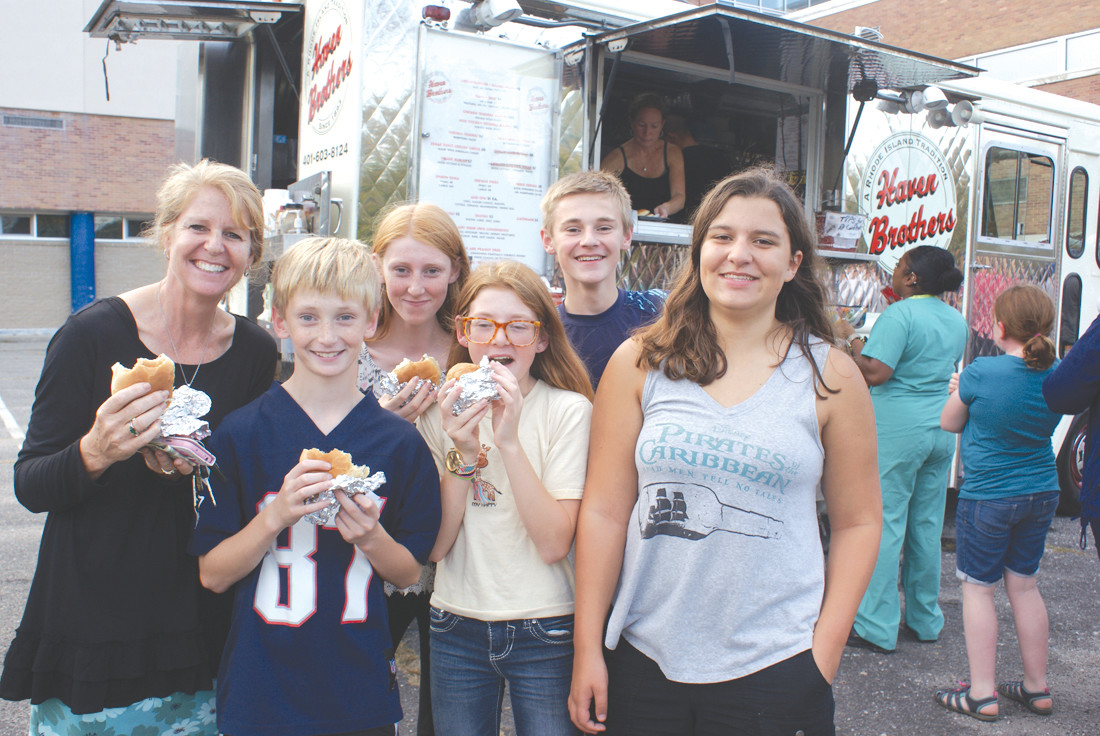 THE MAGUIRE FAMILY: Participating in this year's Park View Food Truck Night were members of the Maguire family. Pictured (l-r) are Laura Maguire with her children, Charlie who is a 7th grade student at Park View Middle School, Delia who is a student at Cranston East High School, Lily, an 8th grade student at Park View Middle School, Patrick, a student at Cranston High School East along with their family friend, Kaitlyn Schmitz, who is a student at Cranston High School East.
