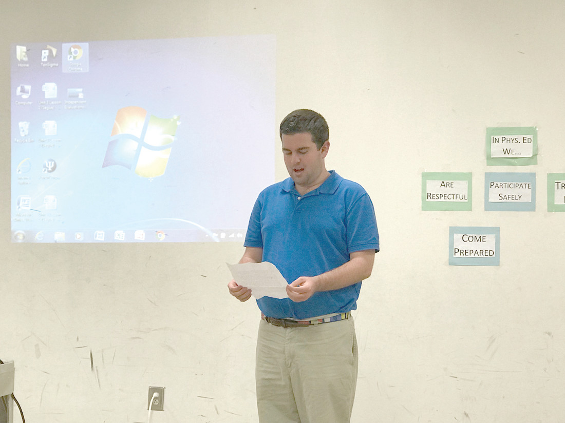 HIS SEARCH IS ON: Cranston resident Chris Zimmerly gives his review of his Project SEARCH experience to the Cranston SEAC on Tuesday, October 3.