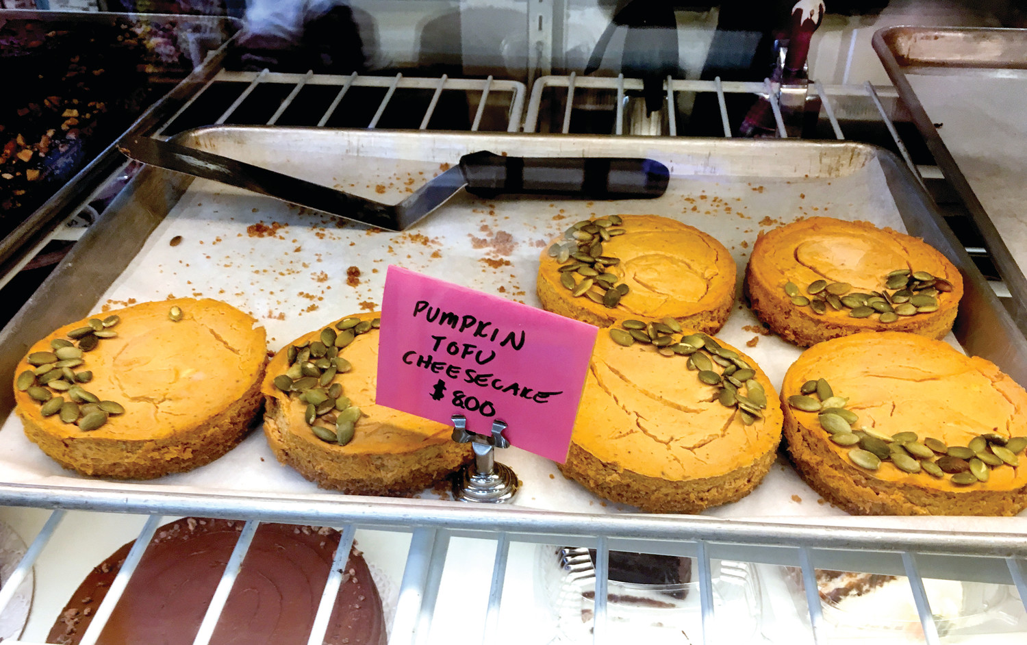 Pumpkin tofu cheesecakes from Wildflour Bakery in Pawtucket, for the fall-loving vegan in your life.