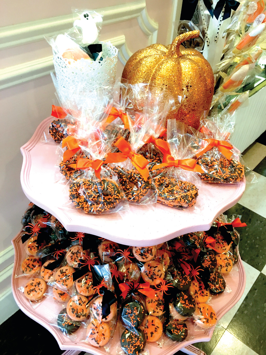 Sweet Indulgence in Cranston has the Halloween spirit in spades. Shown here is a mix of orange and black chocolate-covered pretzels and Oreos, with plenty of spooky sprinkles on top.