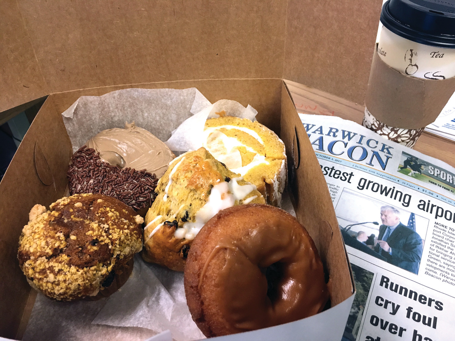 A sampling of delectable fall-inspired treats from Le Favorite in Warwick included a delightful maple/walnut muffin, a pumpkin scone, pumpkin spice sponge cake and a salted caramel-topped cider doughnut.