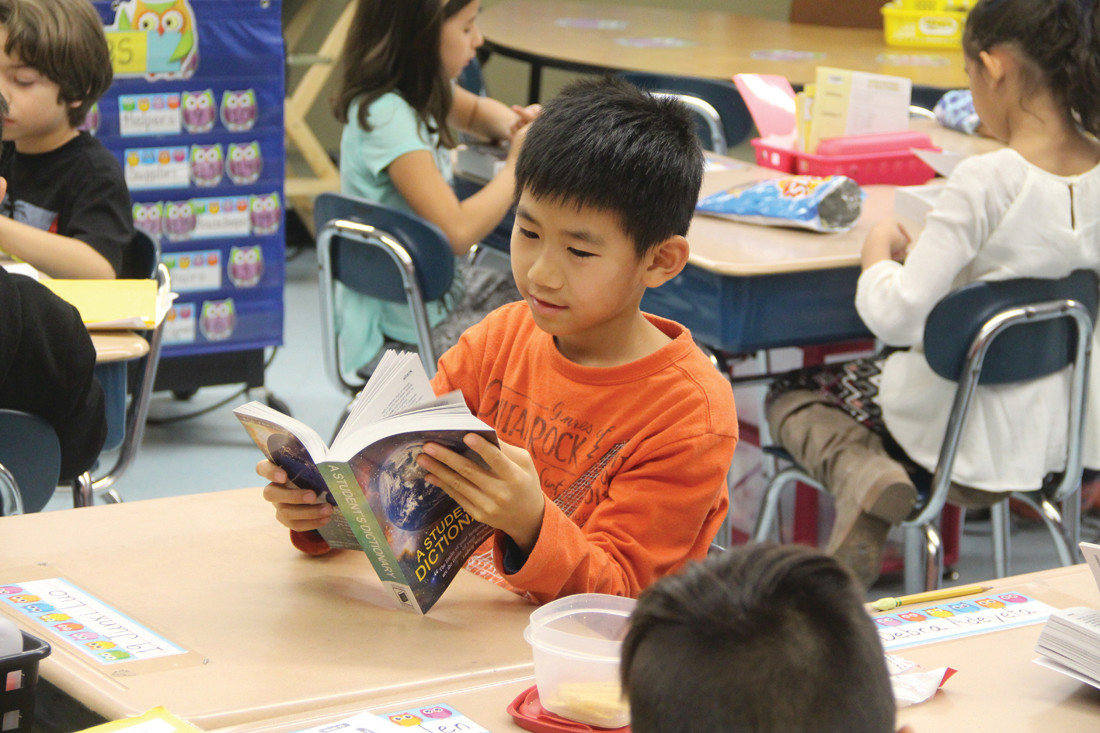 SO MUCH TO FIND: Scott School third grader Junxi Luo thumbs through his dictionary.