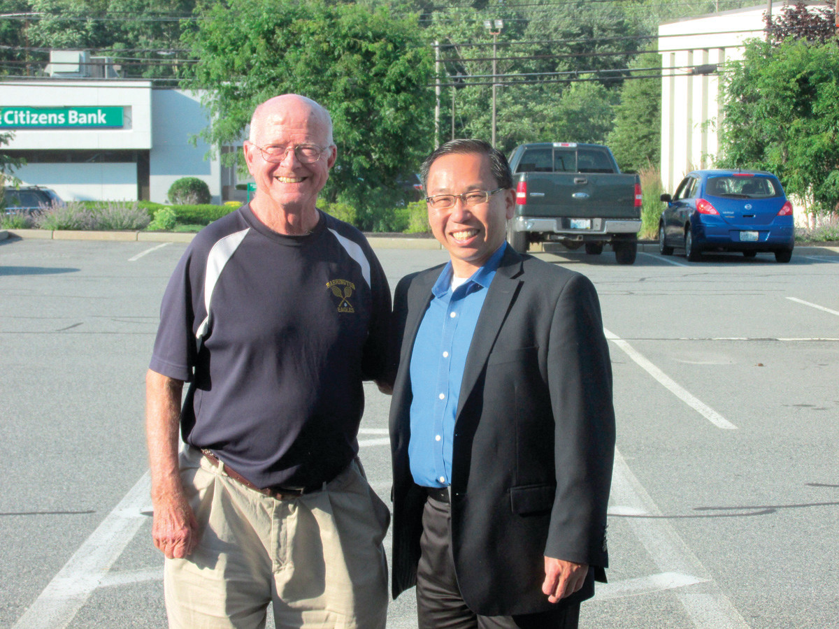 A DOUBLES PAIRING: Dick Ernst, who passed away last year, is pictured here with Mayor Fung, who has orchestrated a renaming of the Cranston East Tennis Courts after the tennis legend.