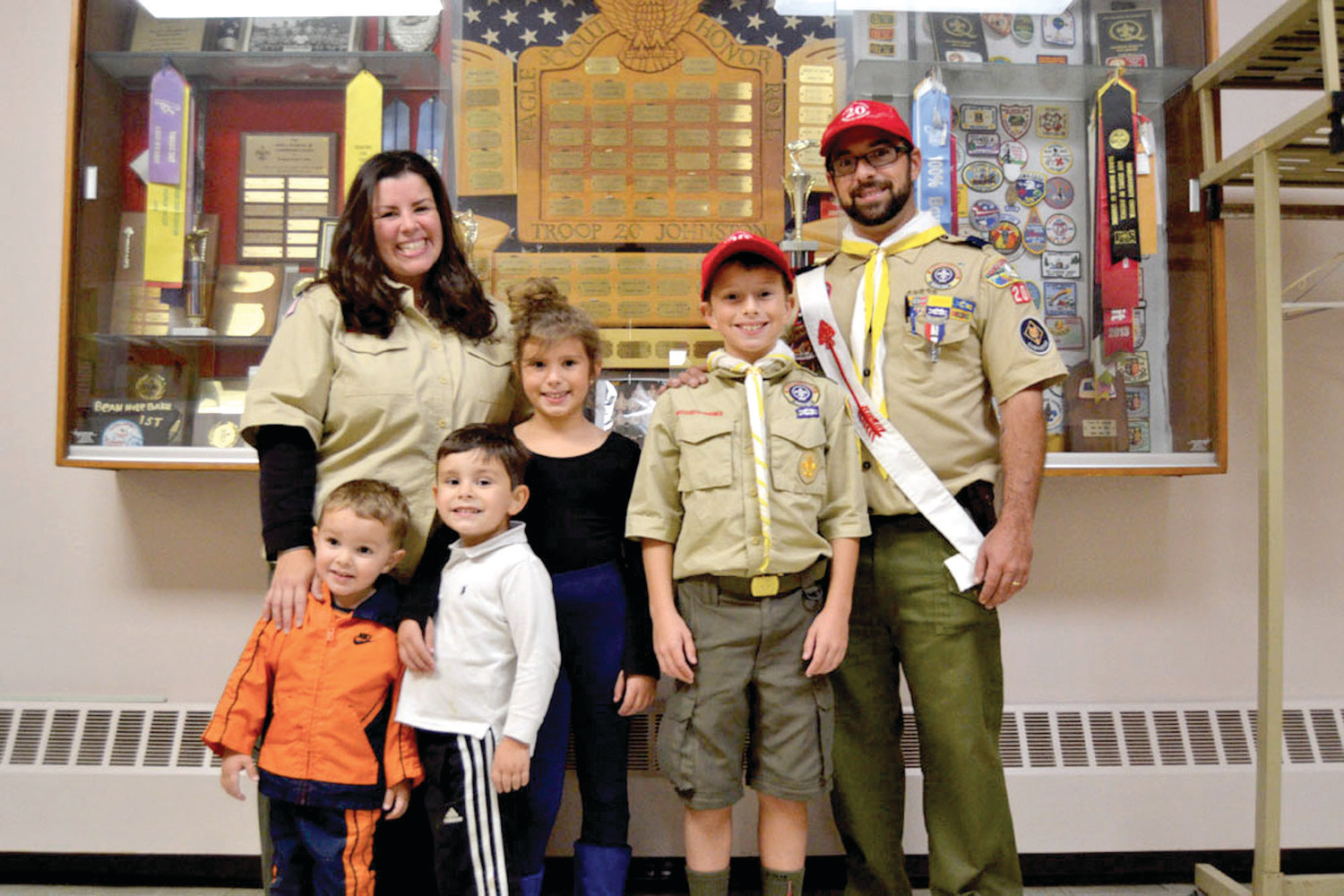 CUB SCOUT FAMILY OF TOMORROW: Cub Scout leaders Toni and Greg Pagliarini are joined by their children Andrew, Sean, Evelyn and David. Thanks to recent changes, all members of the Pagliarini family may soon become Boy Scouts.