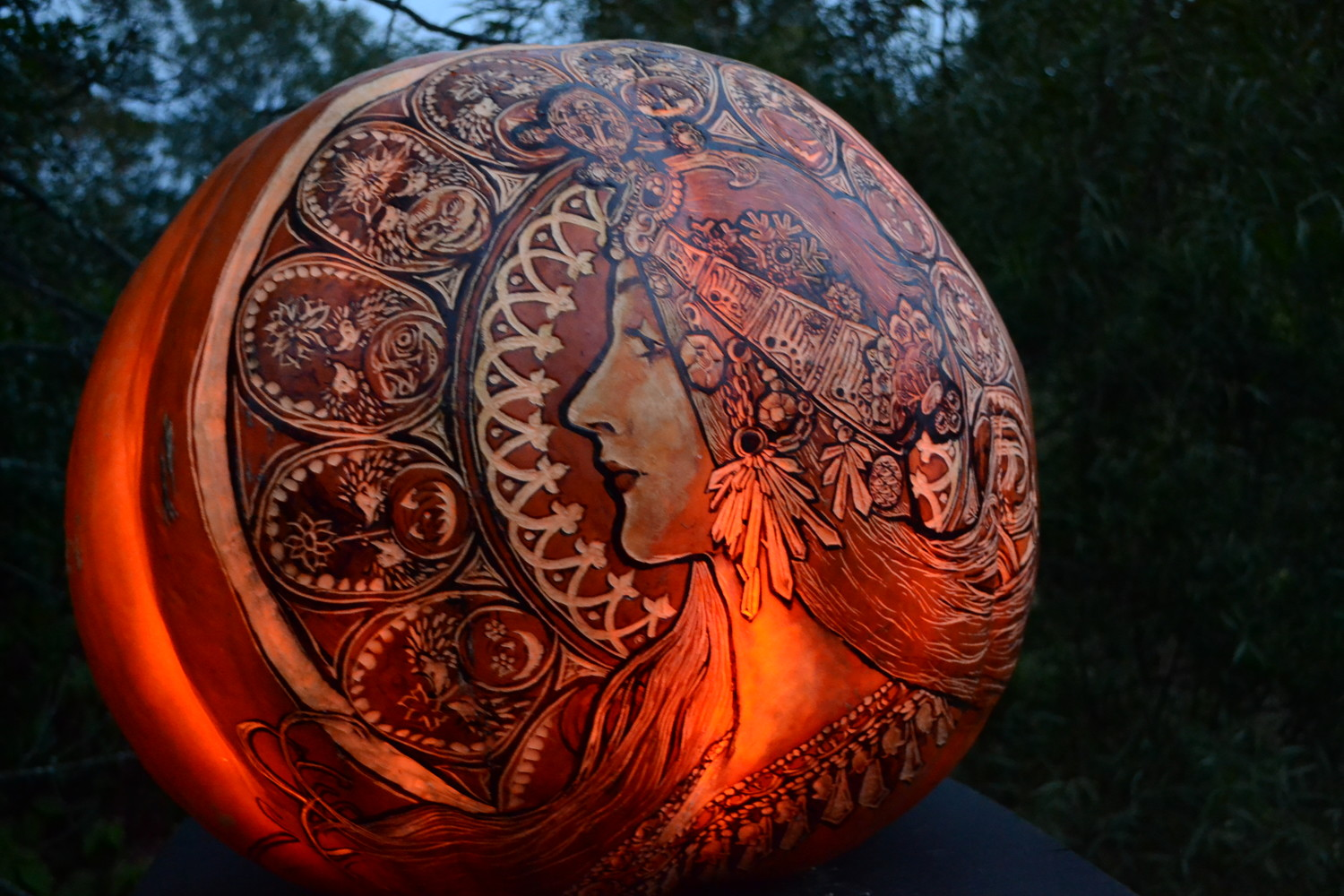The intricate detail carved into the large pumpkins is something you have to see to truly appreciate. No photo does it justice.