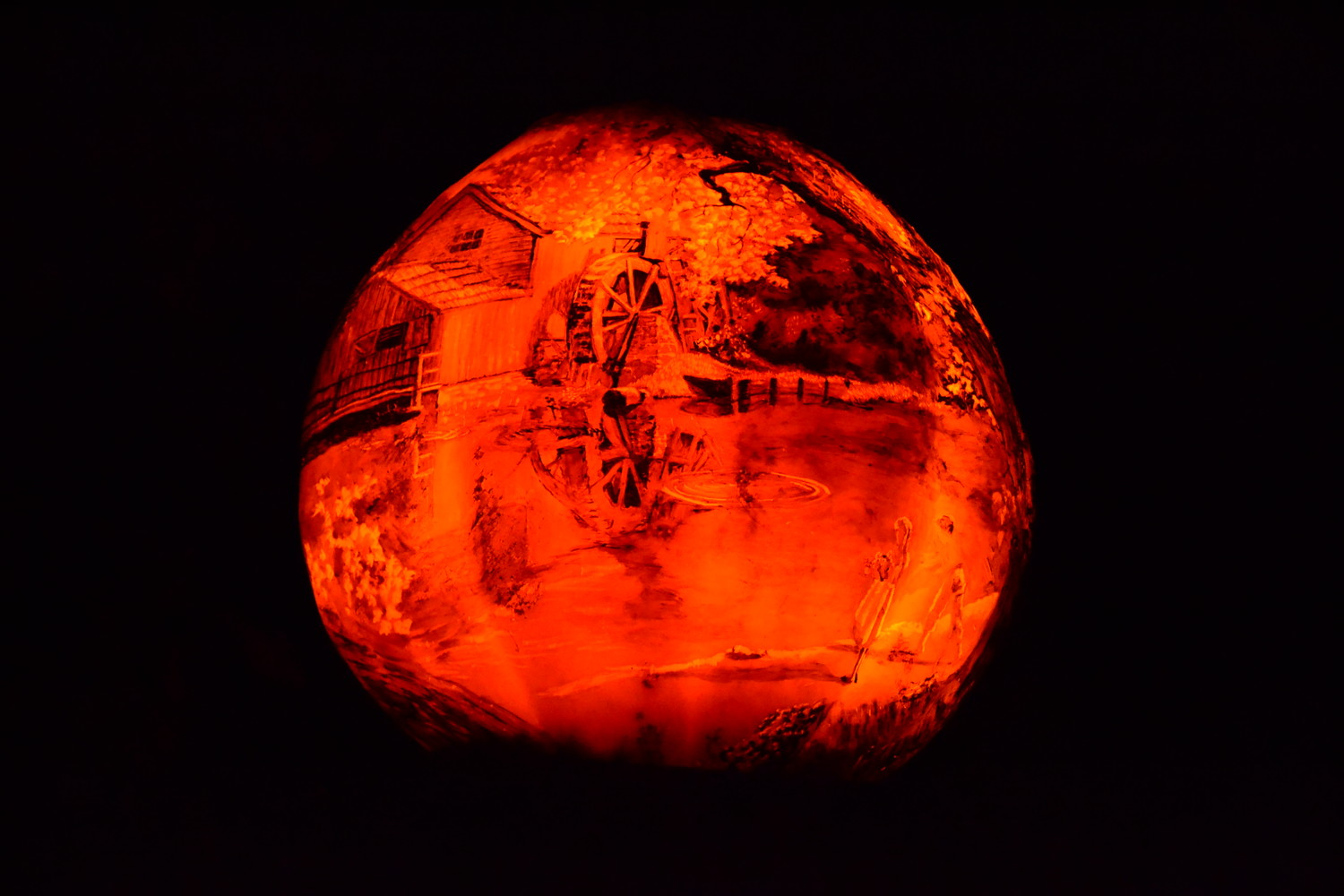 An example of a jack-o-lantern in the midst of total darkness. The artists are able to create incredibly complex, 3D pictures that display a wide variety of subjects.