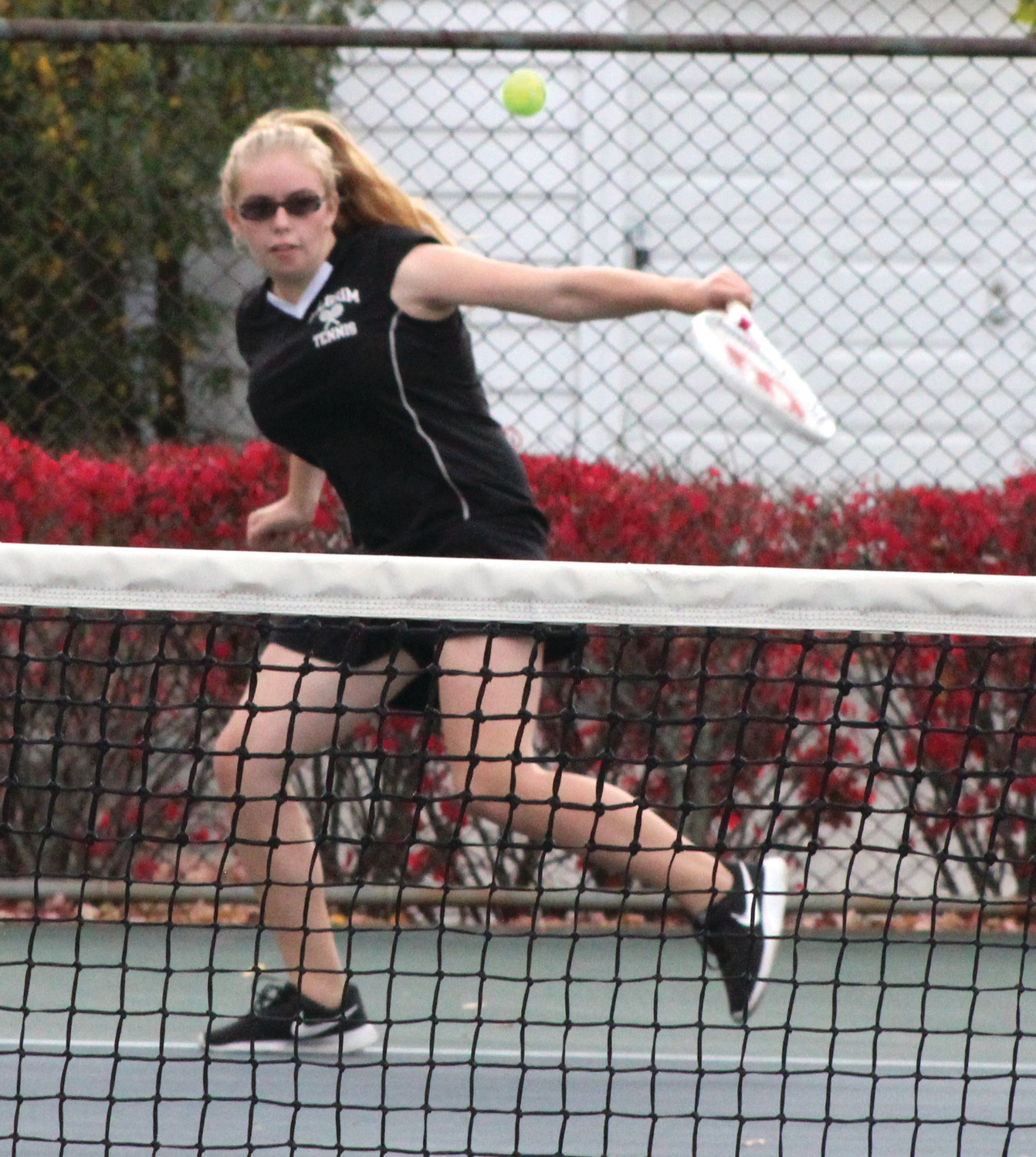 Brooke Pariseau (above) teamed up with Ella Centracchio to earn a win for the Pats at No. 2 doubles.