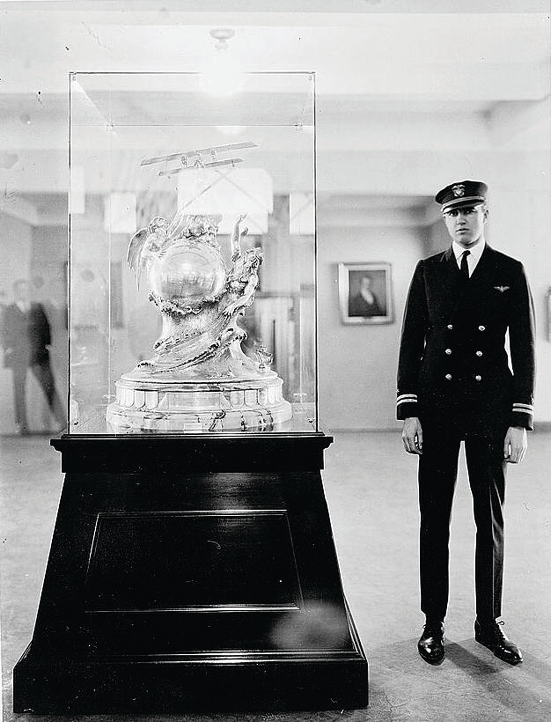 AWARD-WINNING PILOT: Adolphus W. Gorton poses with the Curtiss Marine Flying Trophy he won in 1922