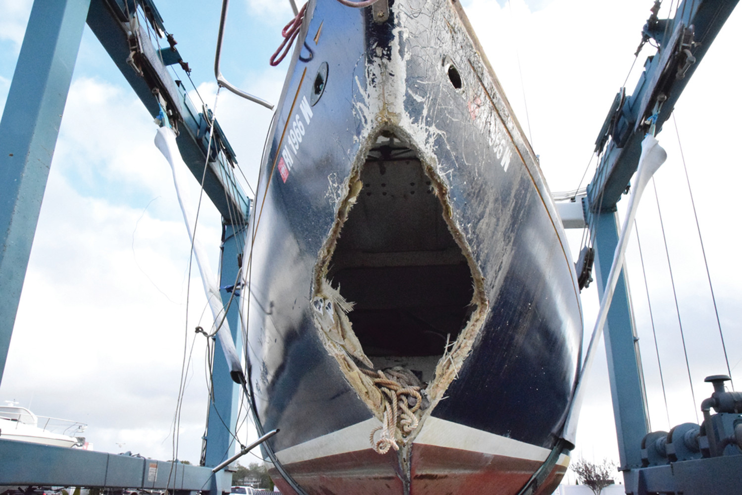 SEASIDE SHOCK: A sailboat at Greenwich Bay Marina gives an almost shocked appearance after suffering a collision with something else in the bay. The impact resulted in catastrophic damage to the bow.