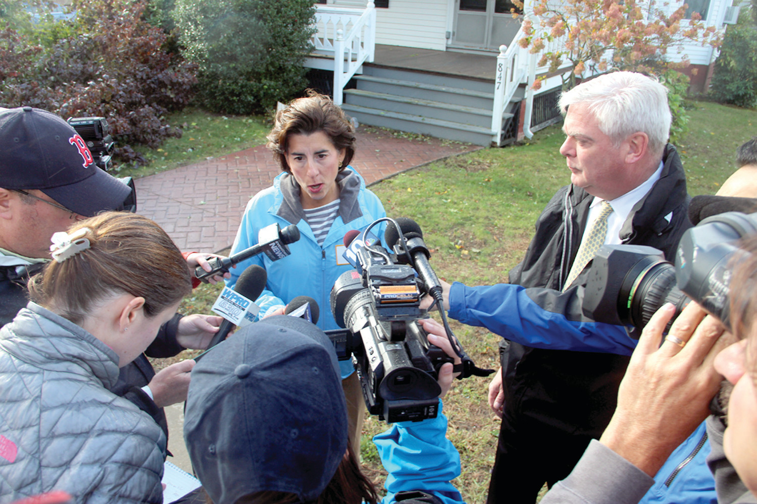 STORM UPDATE: Gov. Gina Raimondo joined Mayor Scott Avedisian and other city officials in Conimicut Monday morning to brief the news media on damage caused by the fast-moving storm.