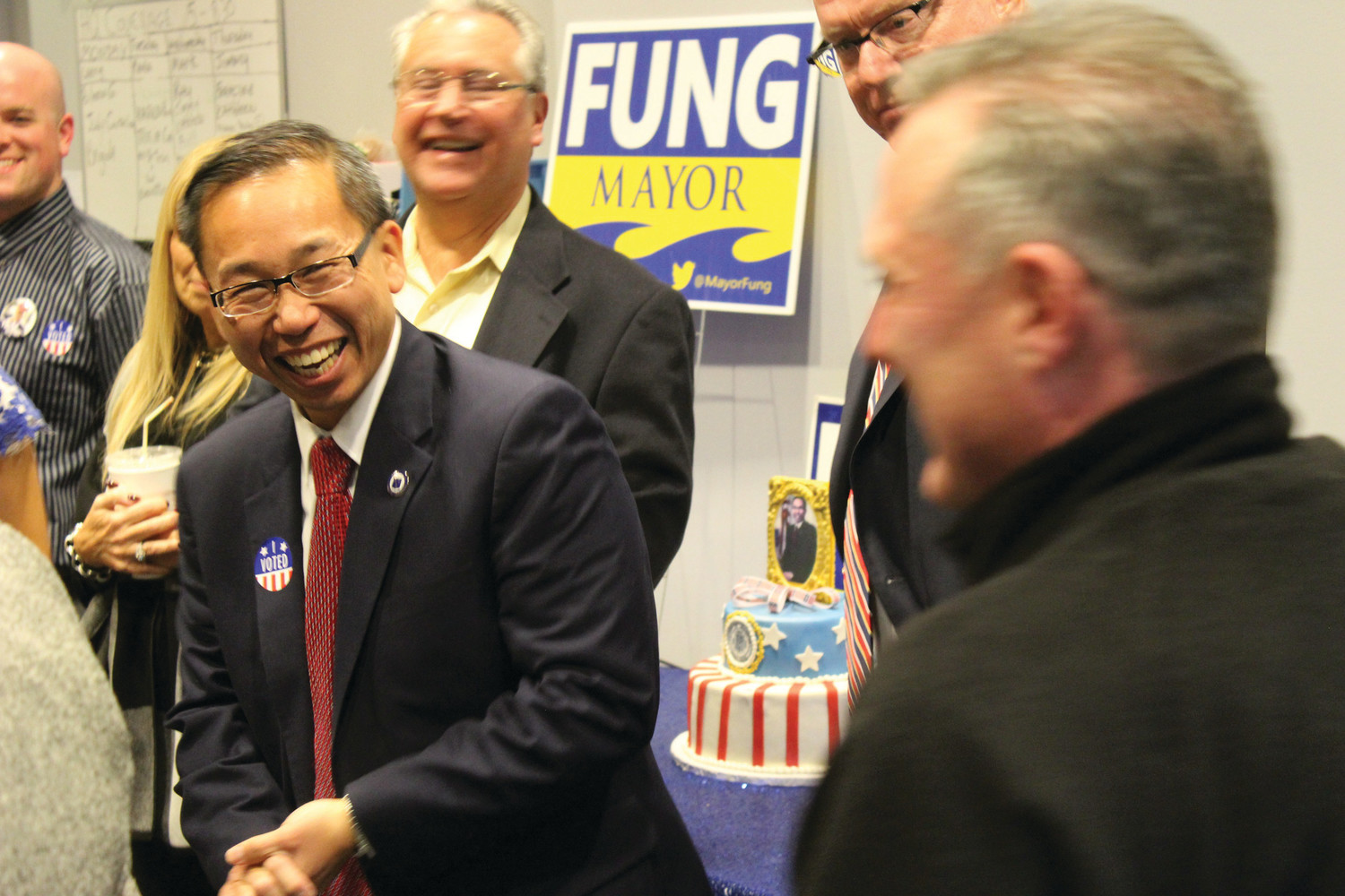 Fung during a campaign for his last term as mayor of Cranston.
