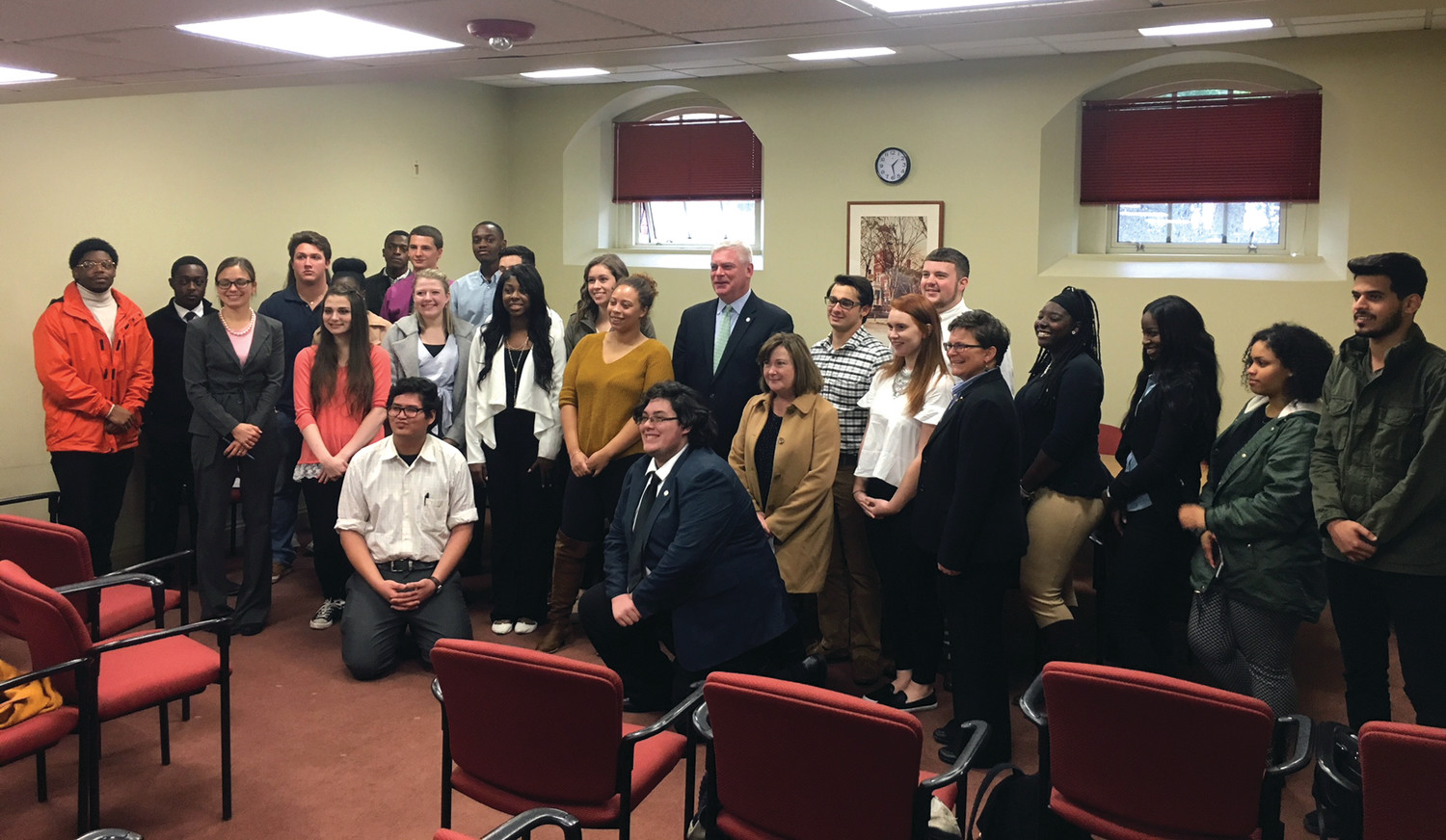 GROUP THINK: The students of the Johnson & Wales Intro to Political Science class poses with Mayor Avedisian and city staff following their presentations at Warwick City Hall last Wednesday.