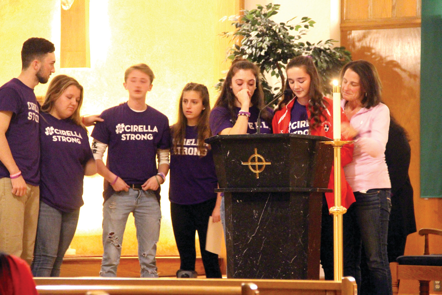 REMEMBERING GIANNA: With Giana's mother, Tara Cirella (at right) joining them, Gianna's friends Andrew Ekroth, Quinn Freeman, Jack Howe, Lizzie Gilbert, Shannon McCamish and Elise Saccoccia talked of their friend and how much she will be missed.
