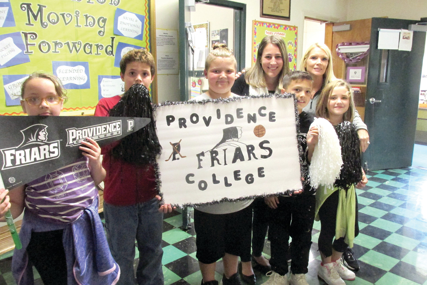 FRIAR FAITHFUL: Providence College was the school Mrs. McDonald's Grade 4 class selected for last Friday's College Pep Rally at Thornton School n Johnston. (Sun Rise photos by Pete Fontaine)
