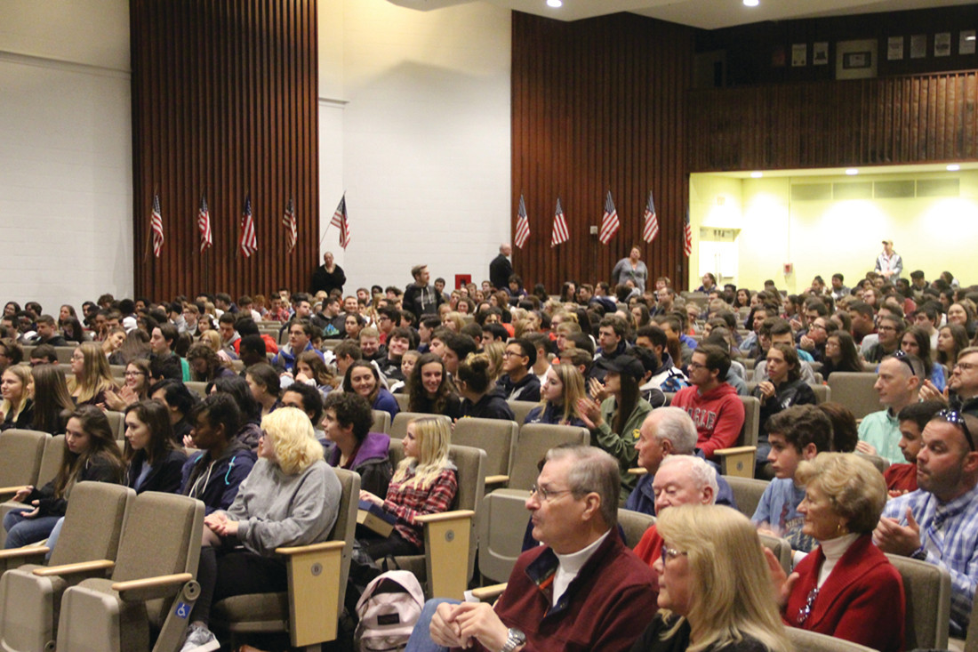FULL HOUSE: Pilgrim's auditorium swelled almost to full capacity as upperclassmen joined the band, chorus, faculty and National Honor Society in honoring the past and current members of the armed forces.