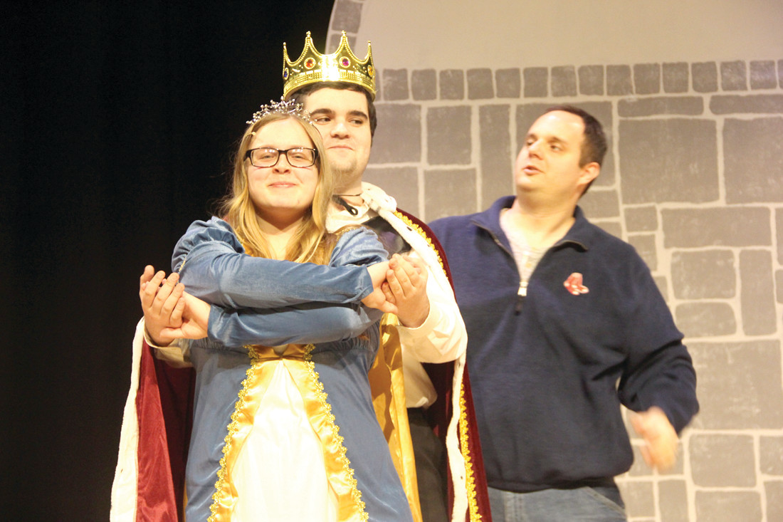 PILGRIM ROYALTY: Rachel Goding and Dylan Bowden, who play Queen Constantina and King Maximillian, ready for the show during the dress rehearsal with club director Richard Denningham.